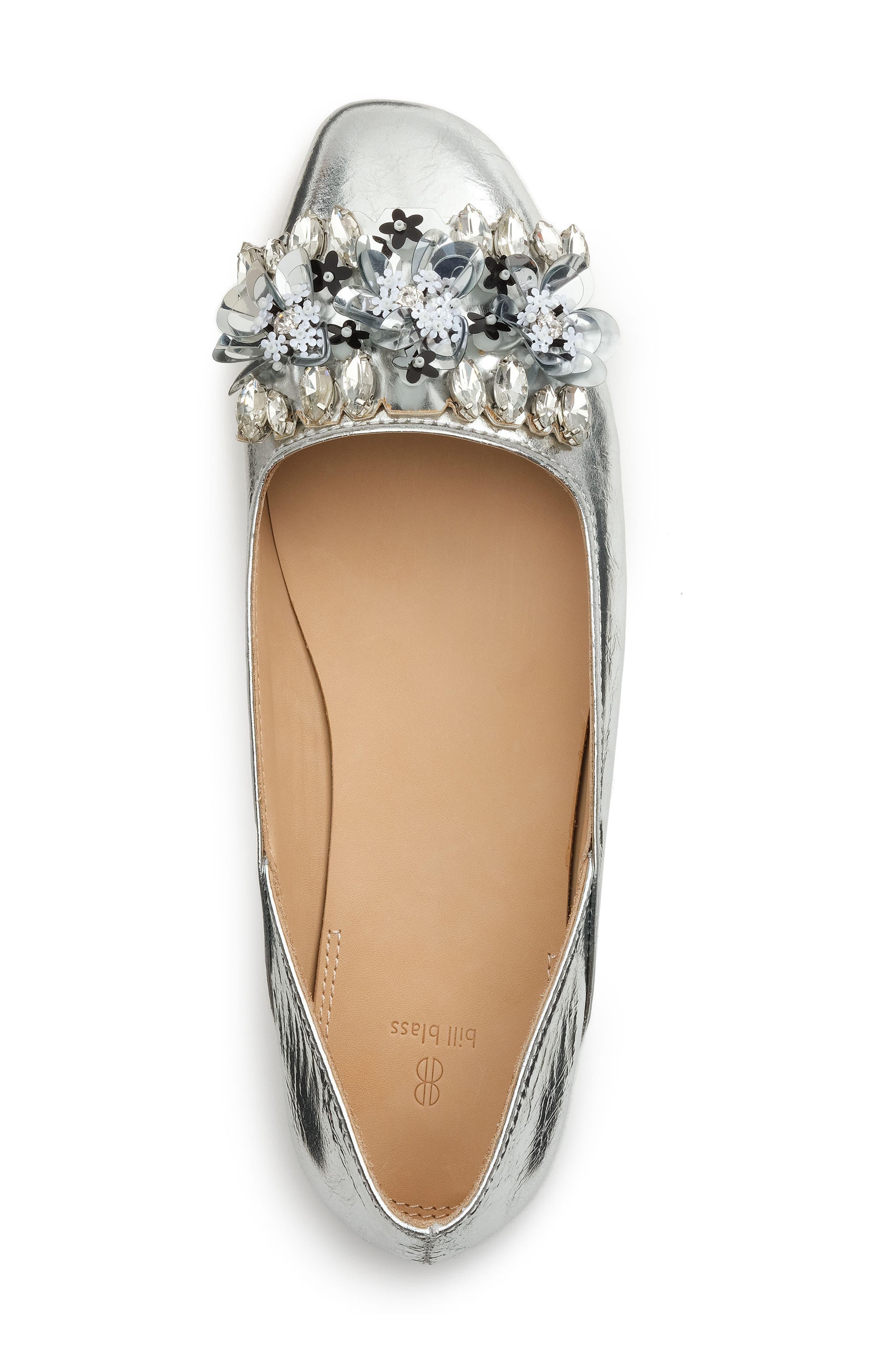 Aurey Embellished Ballet Flat,                             Alternate thumbnail 4, color,                             Silver Foil