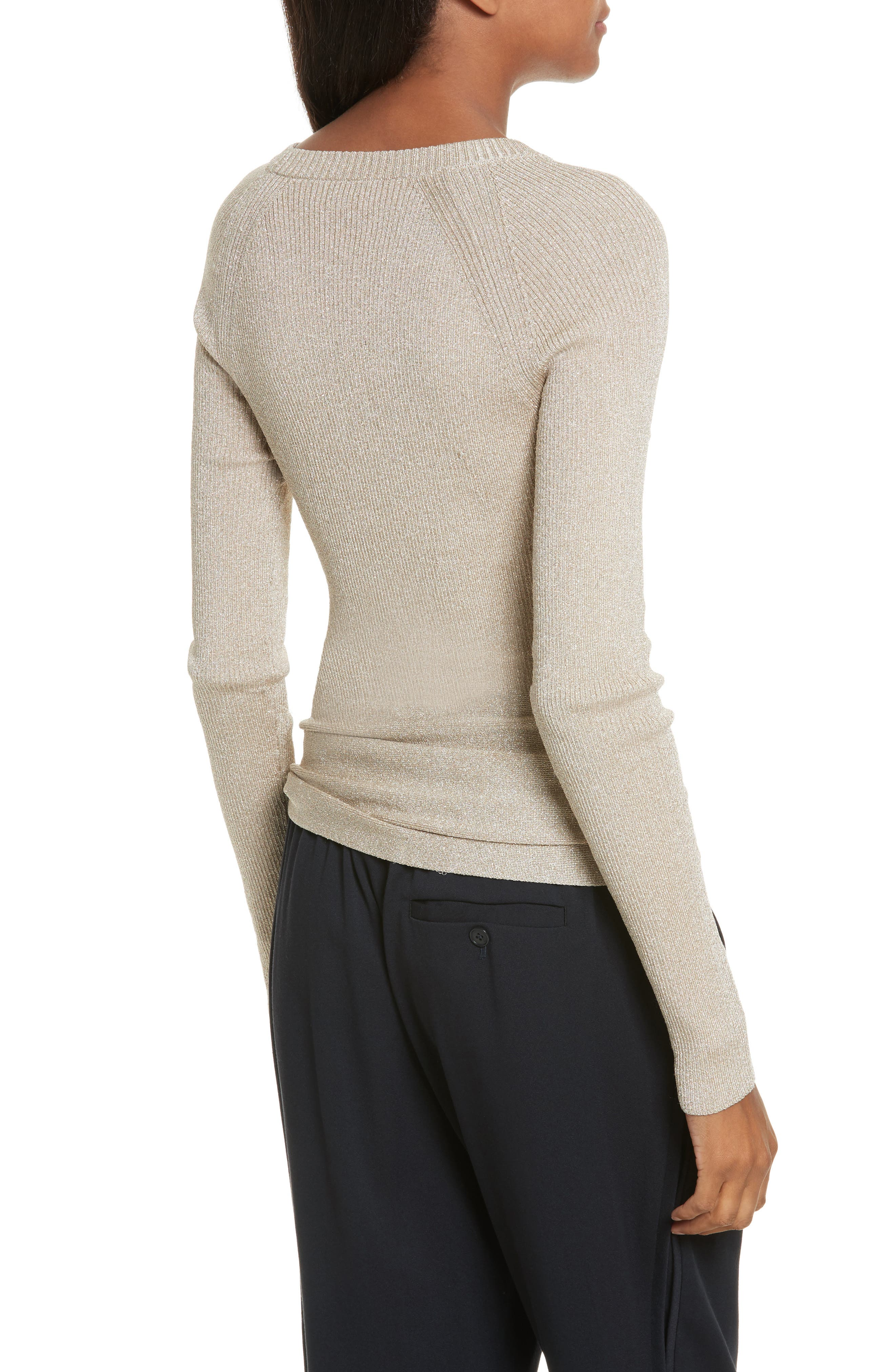 Metallic Side Tie Sweater,                             Alternate thumbnail 2, color,                             Gold