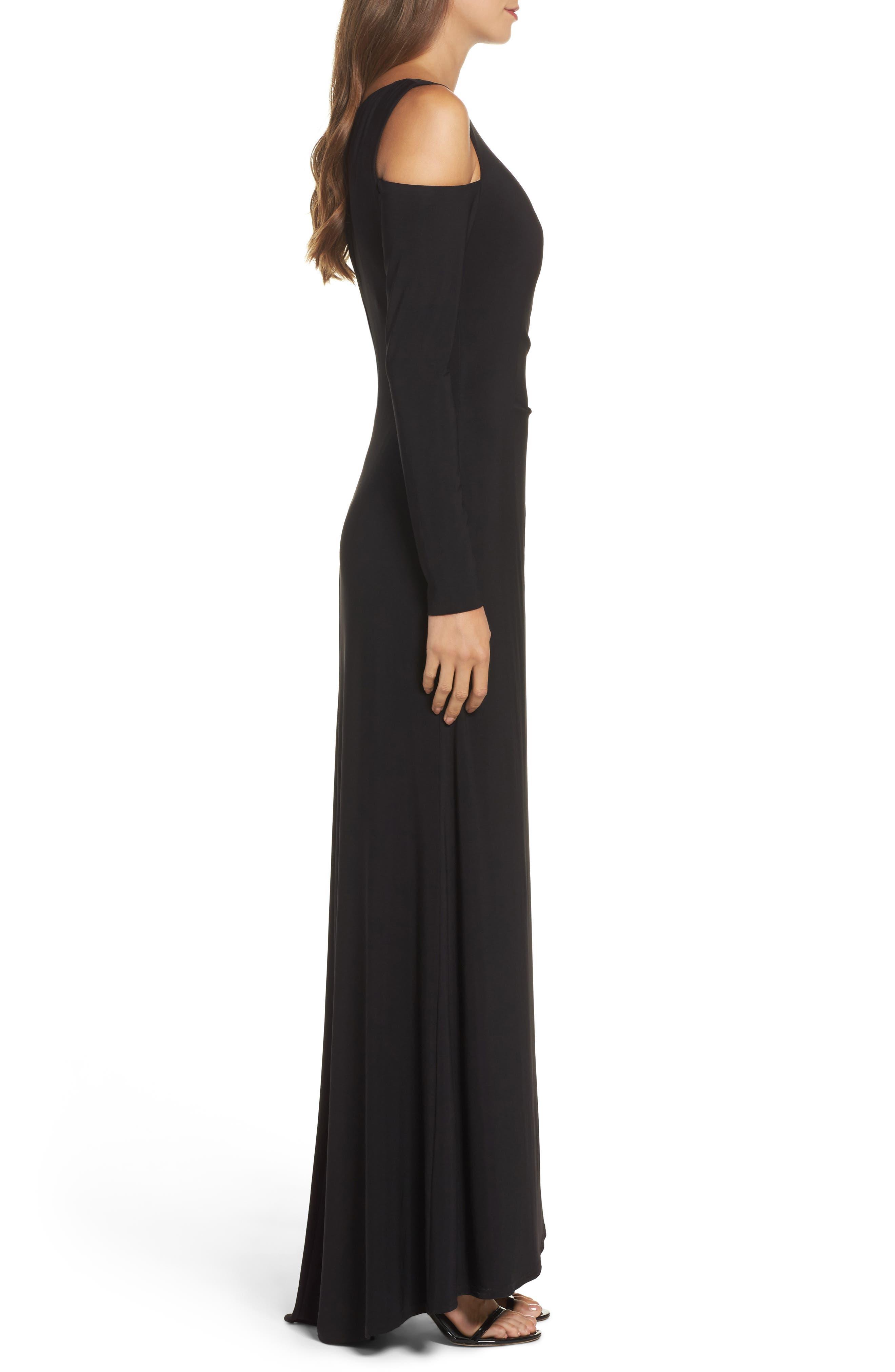 Cold Shoulder A-Line Gown,                             Alternate thumbnail 3, color,                             Black