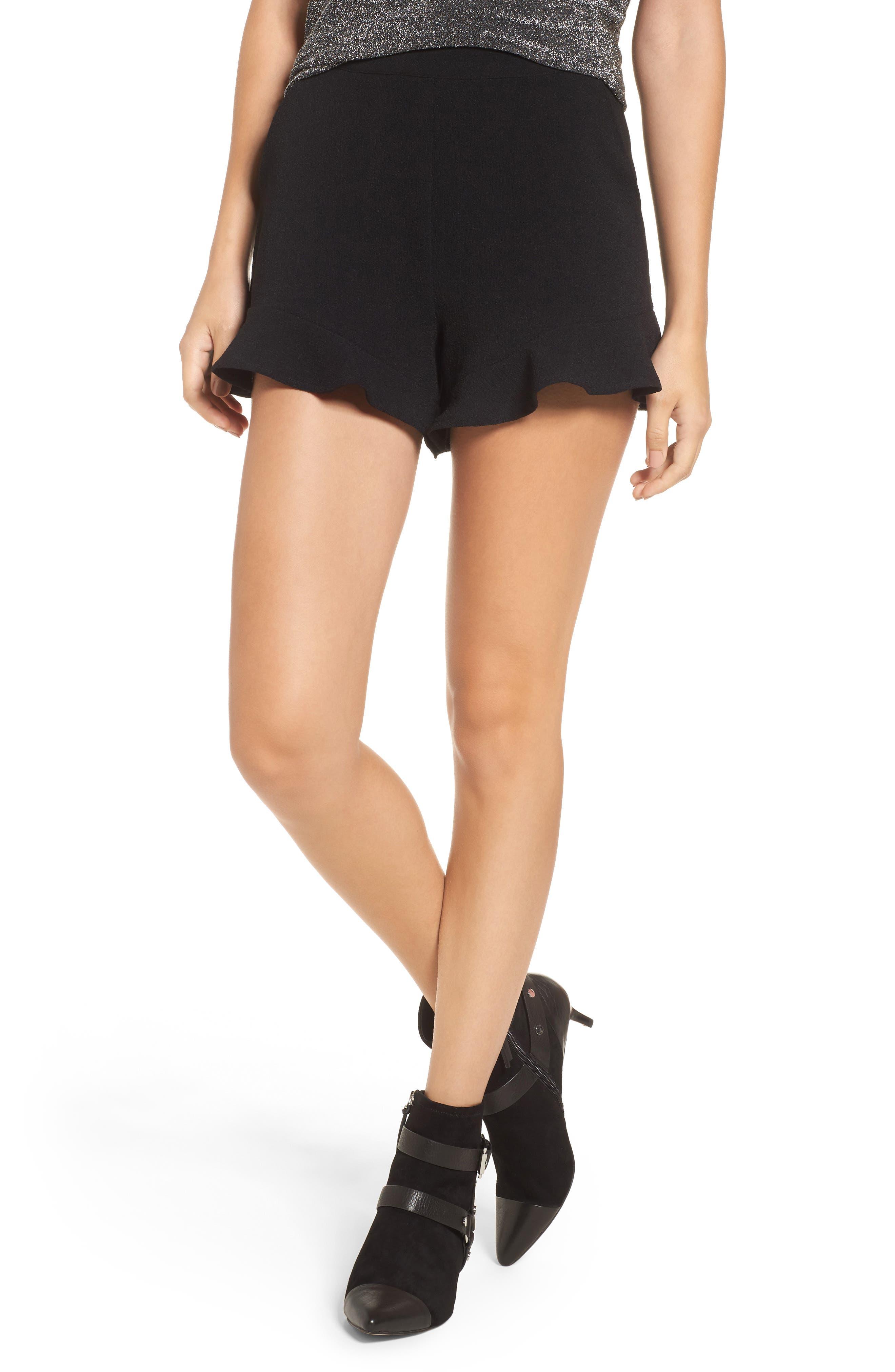 Ruffle Hem Shorts,                         Main,                         color, Black