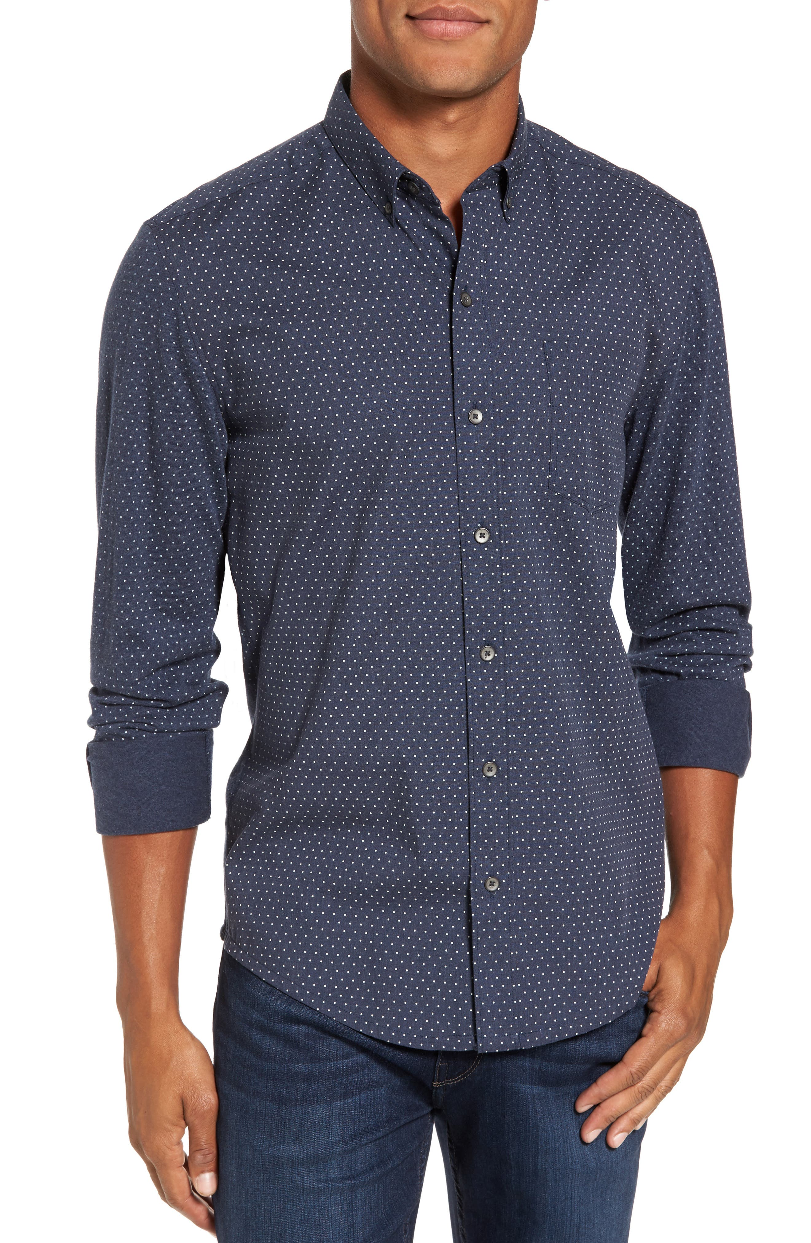 W.R.K 'Reworkd' Trim Fit Dot Print Mixed Media Sport Shirt