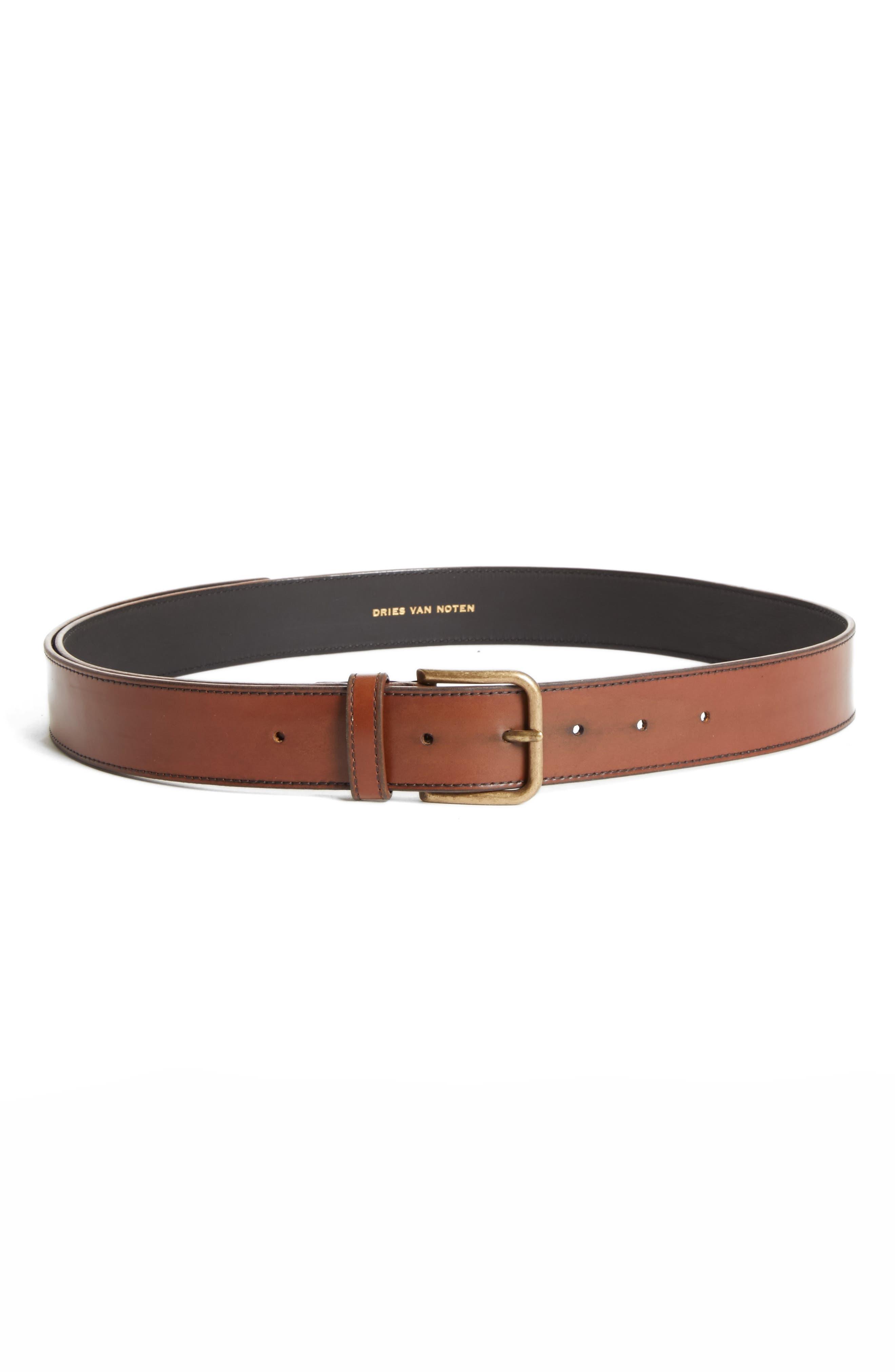 Leather Belt,                             Main thumbnail 1, color,                             Cognac