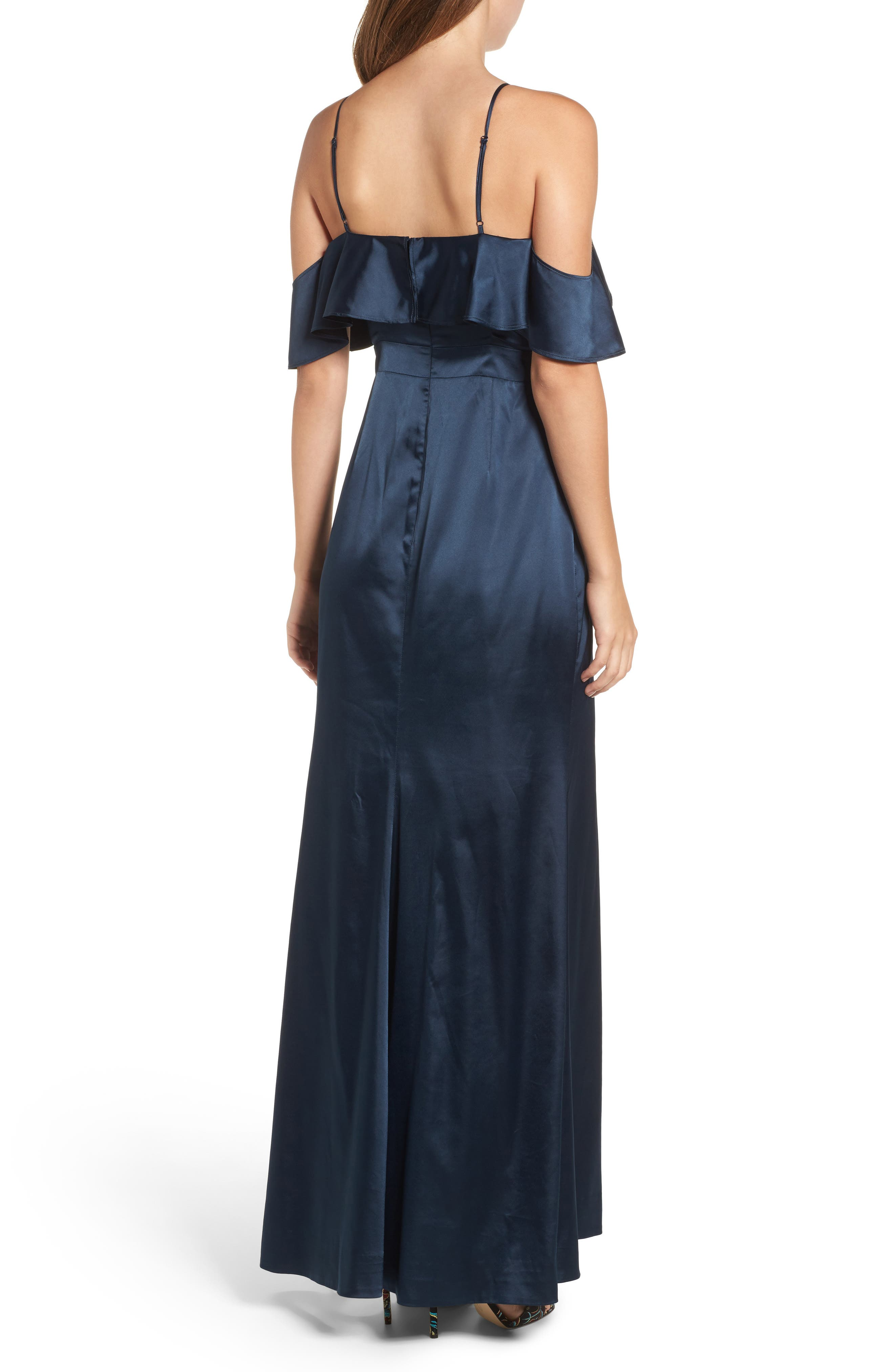Niaa Cold Shoulder Gown,                             Alternate thumbnail 2, color,                             Navy