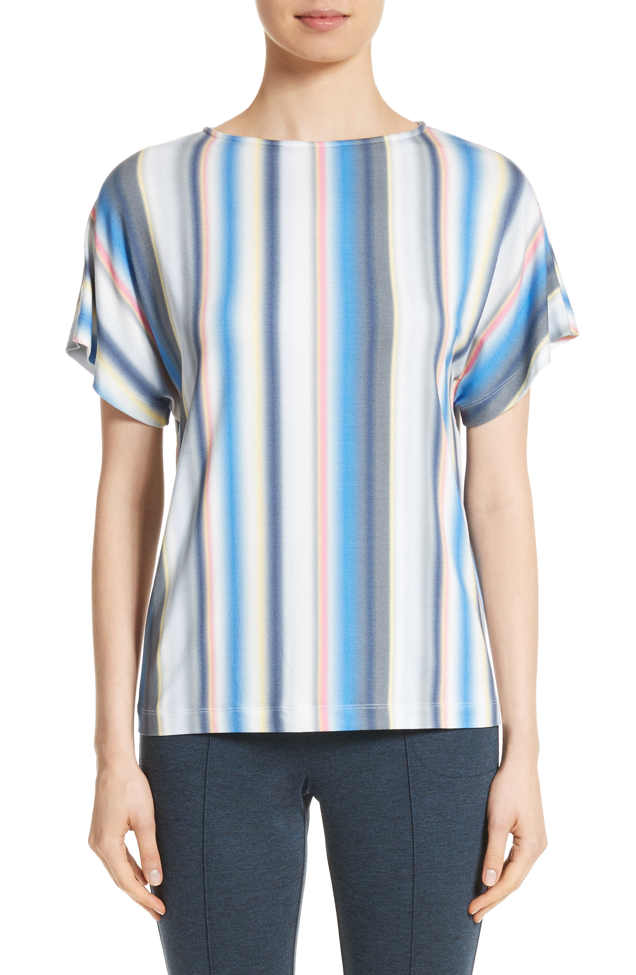 St. John Collection Blurred Stripe Jersey Top