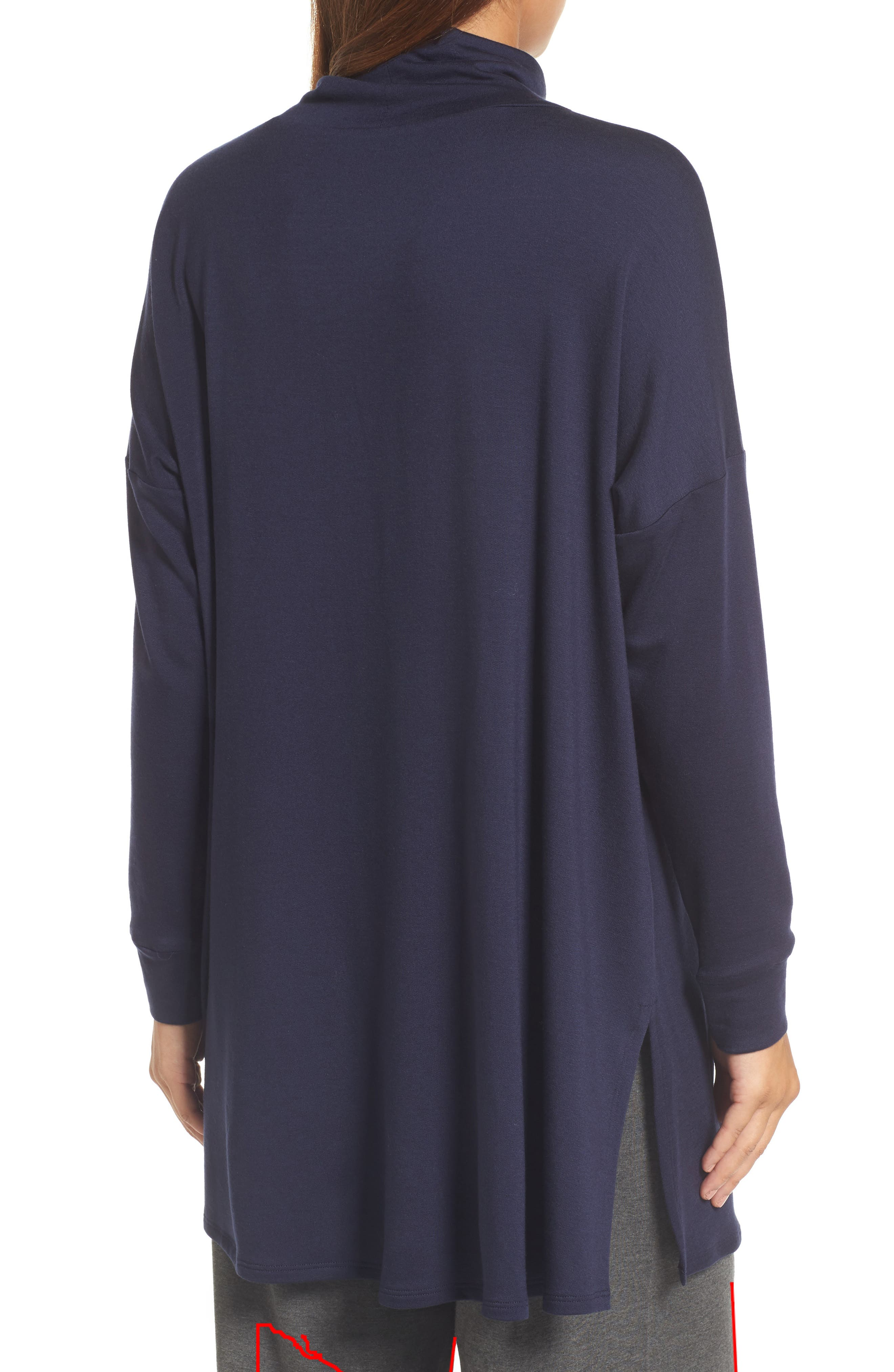 Funnel Neck Knit Tunic,                             Alternate thumbnail 2, color,                             Midnight