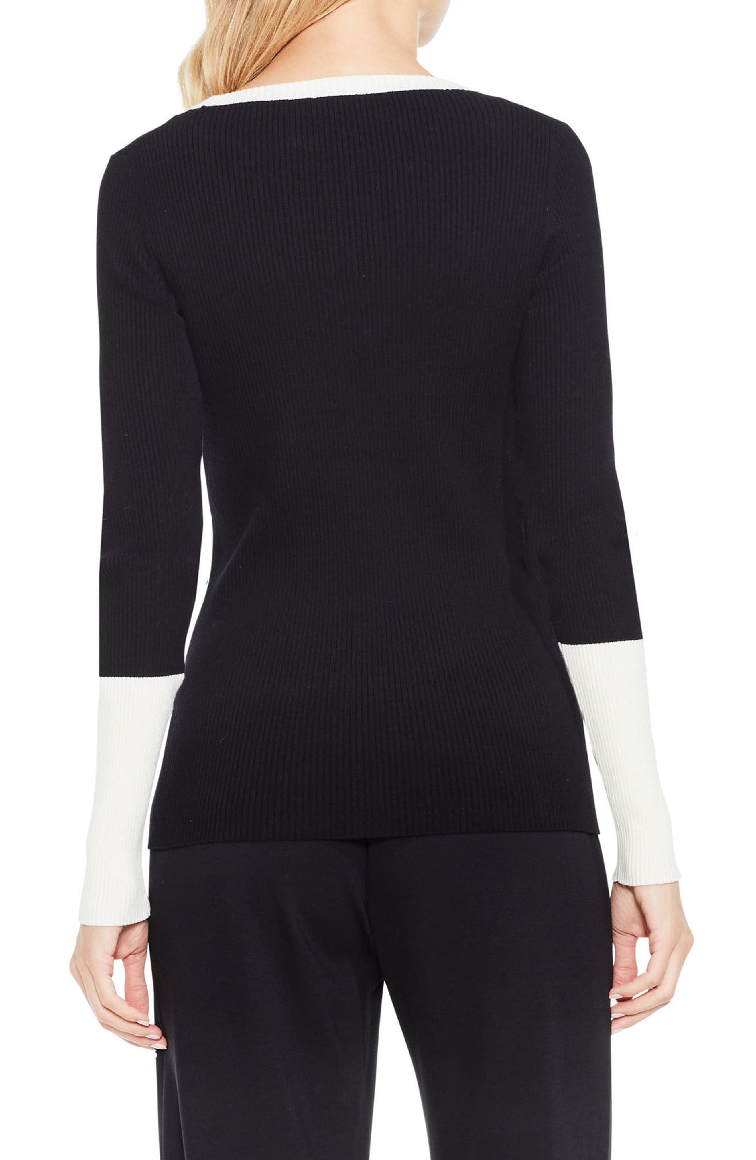 Colorblock Ribbed Sweater,                             Alternate thumbnail 2, color,                             Rich Black