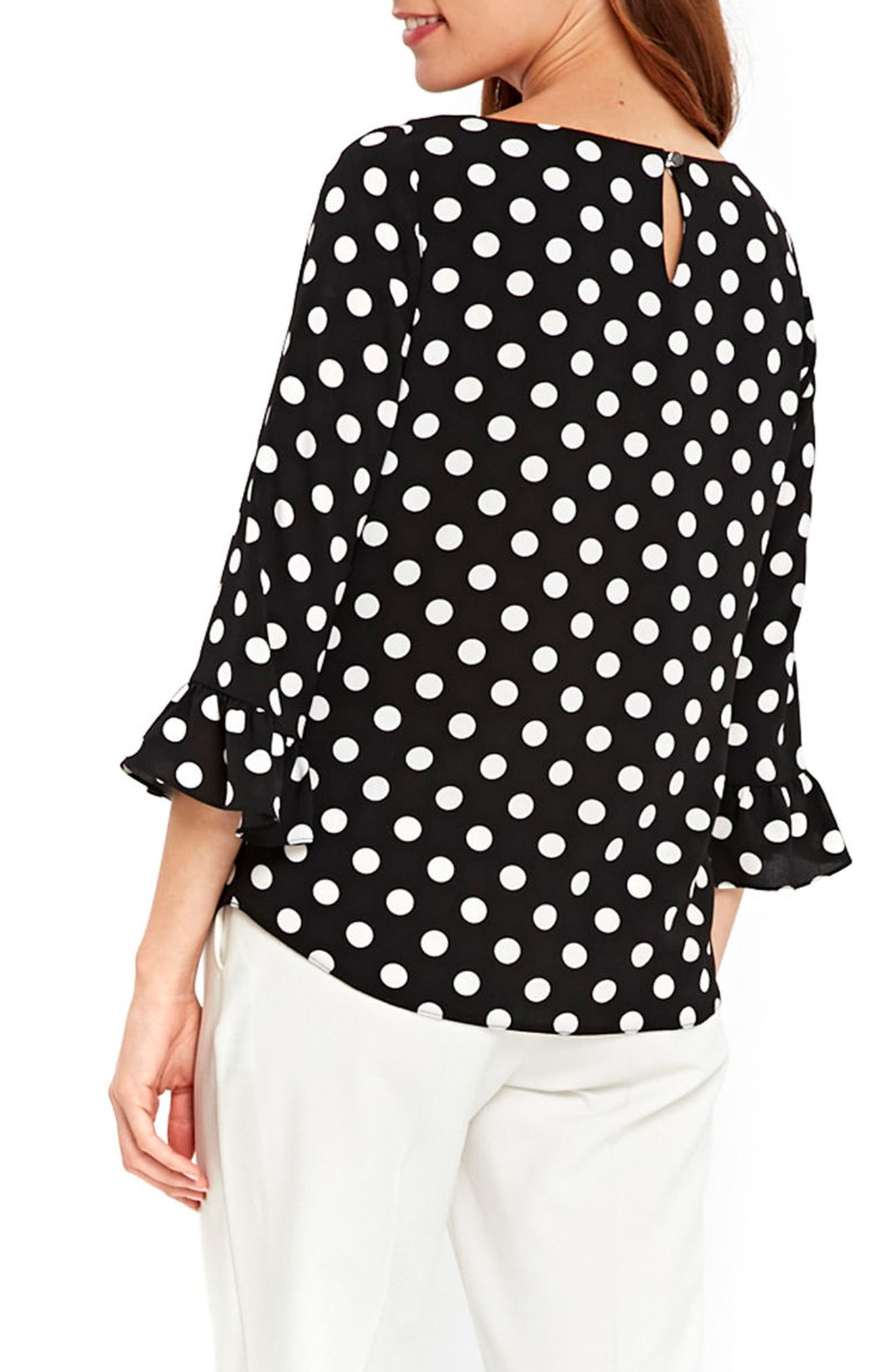 Flute Sleeve Polka Dot Top,                             Alternate thumbnail 3, color,                             Black