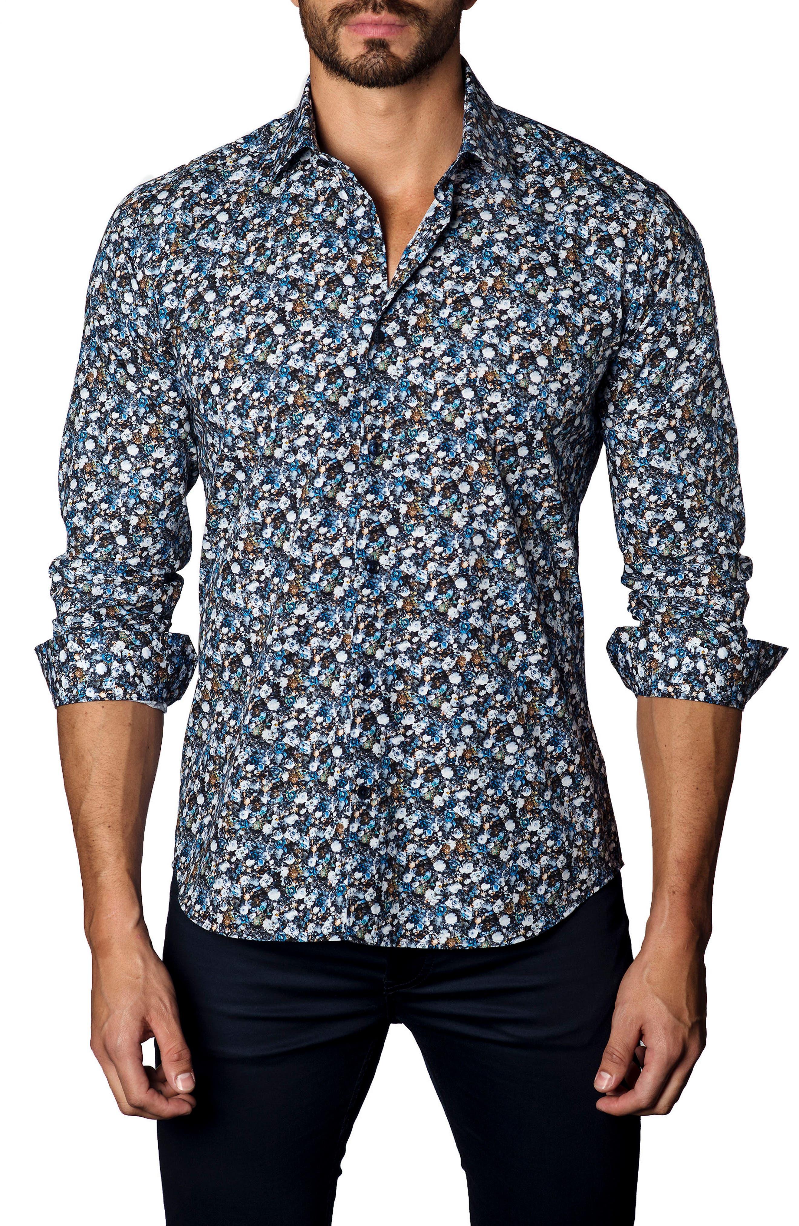 Main Image - Jared Lang Trim Fit Floral Sport Shirt