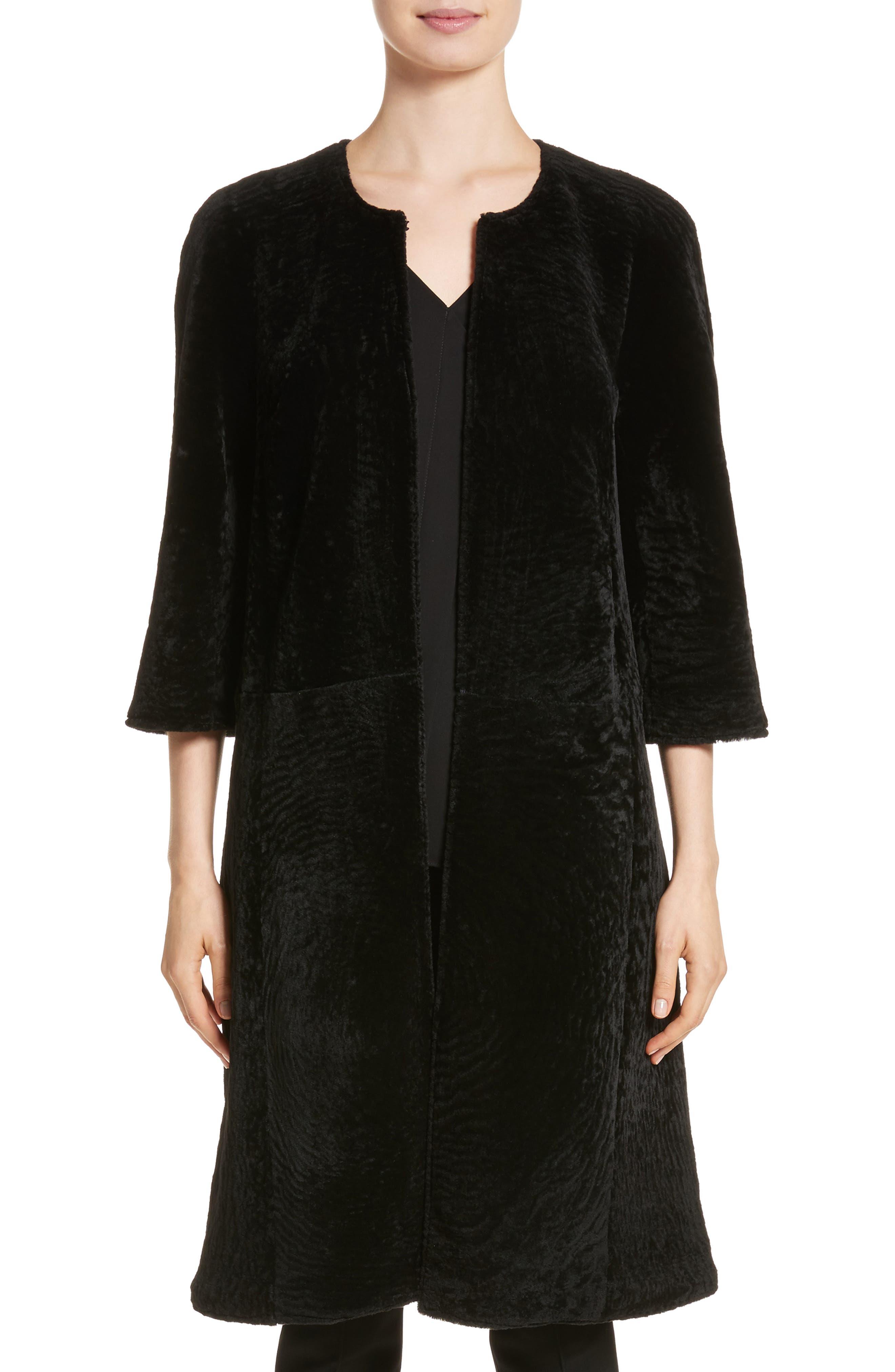 Genuine Textured Lamb Fur Jacket,                             Main thumbnail 1, color,                             Caviar