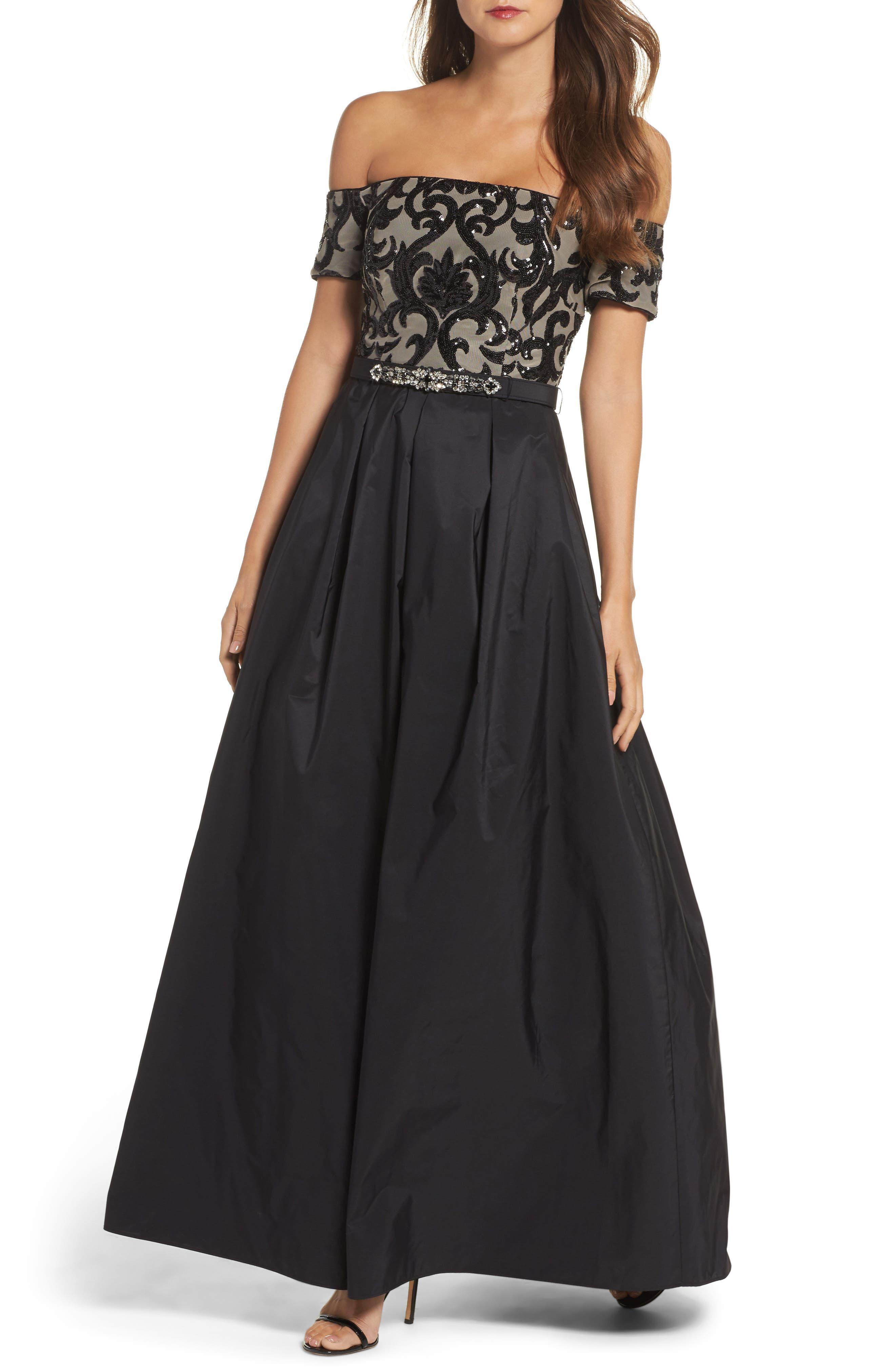 Embellished Off the Shoulder Ballgown,                         Main,                         color, Black Nude Combo