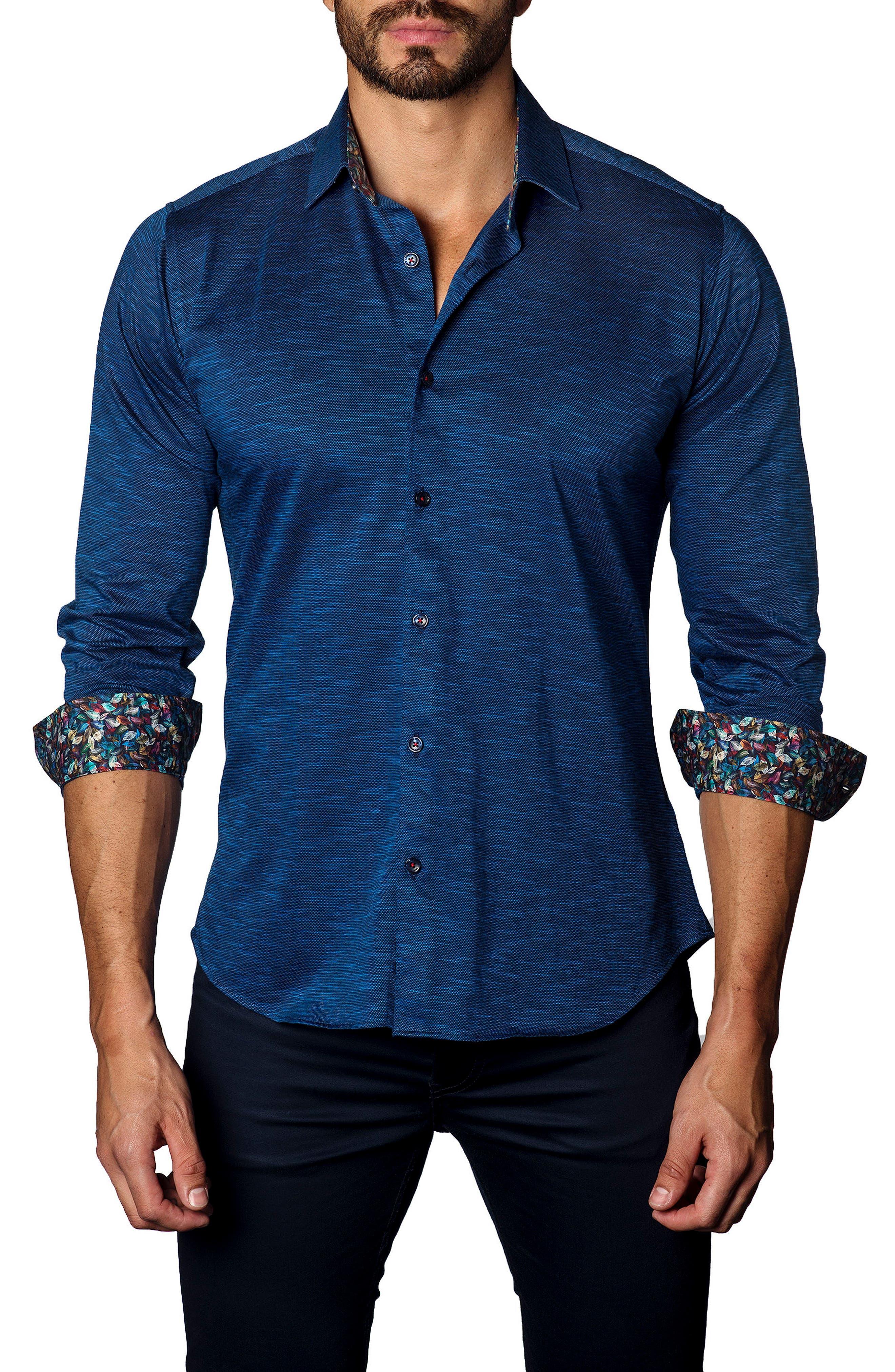 Main Image - Jared Lang Trim Fit Contrast Inset Sport Shirt