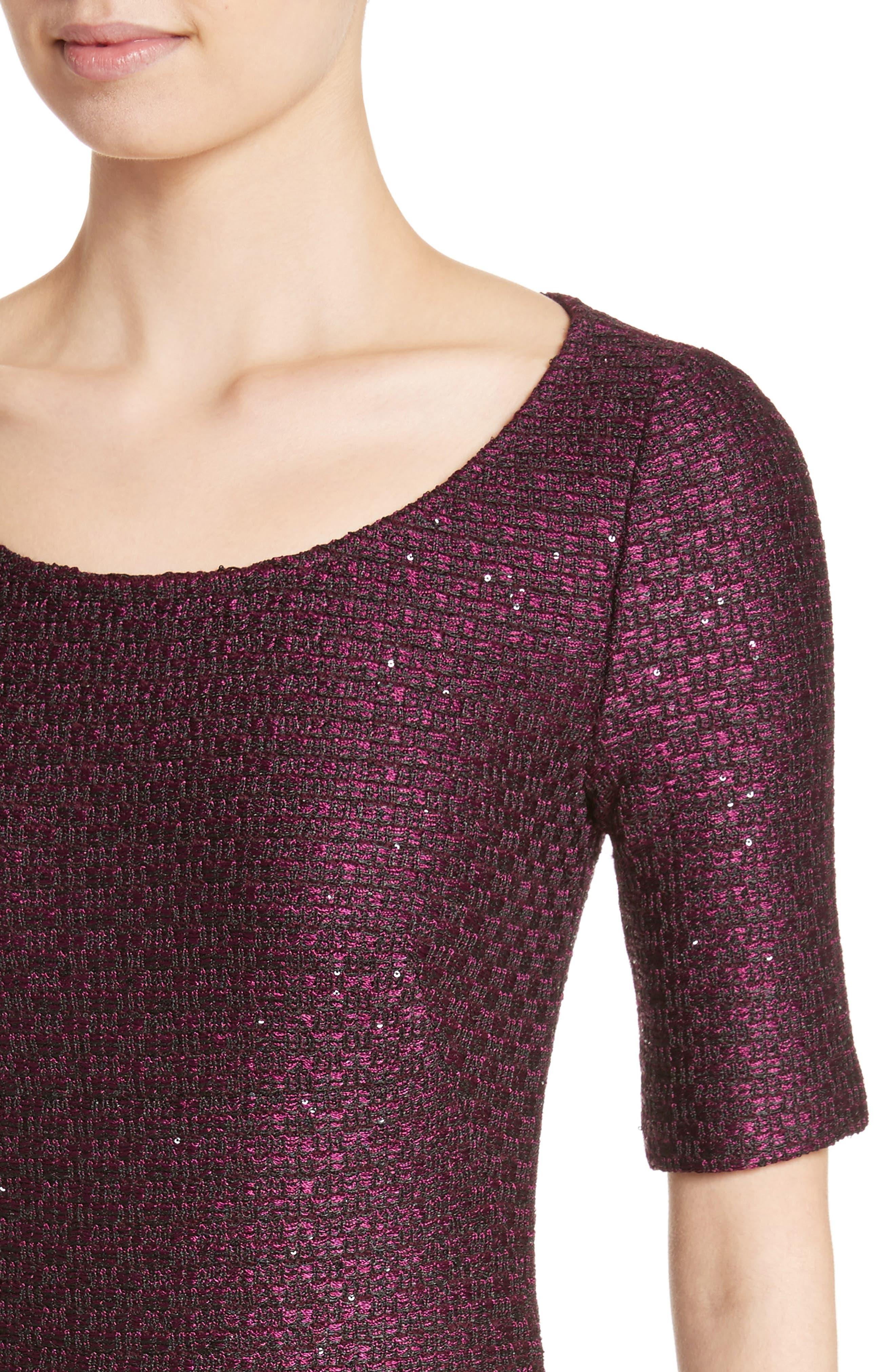 Scooped Neck Hansh Knit Column Gown,                             Alternate thumbnail 4, color,                             Currant Multi