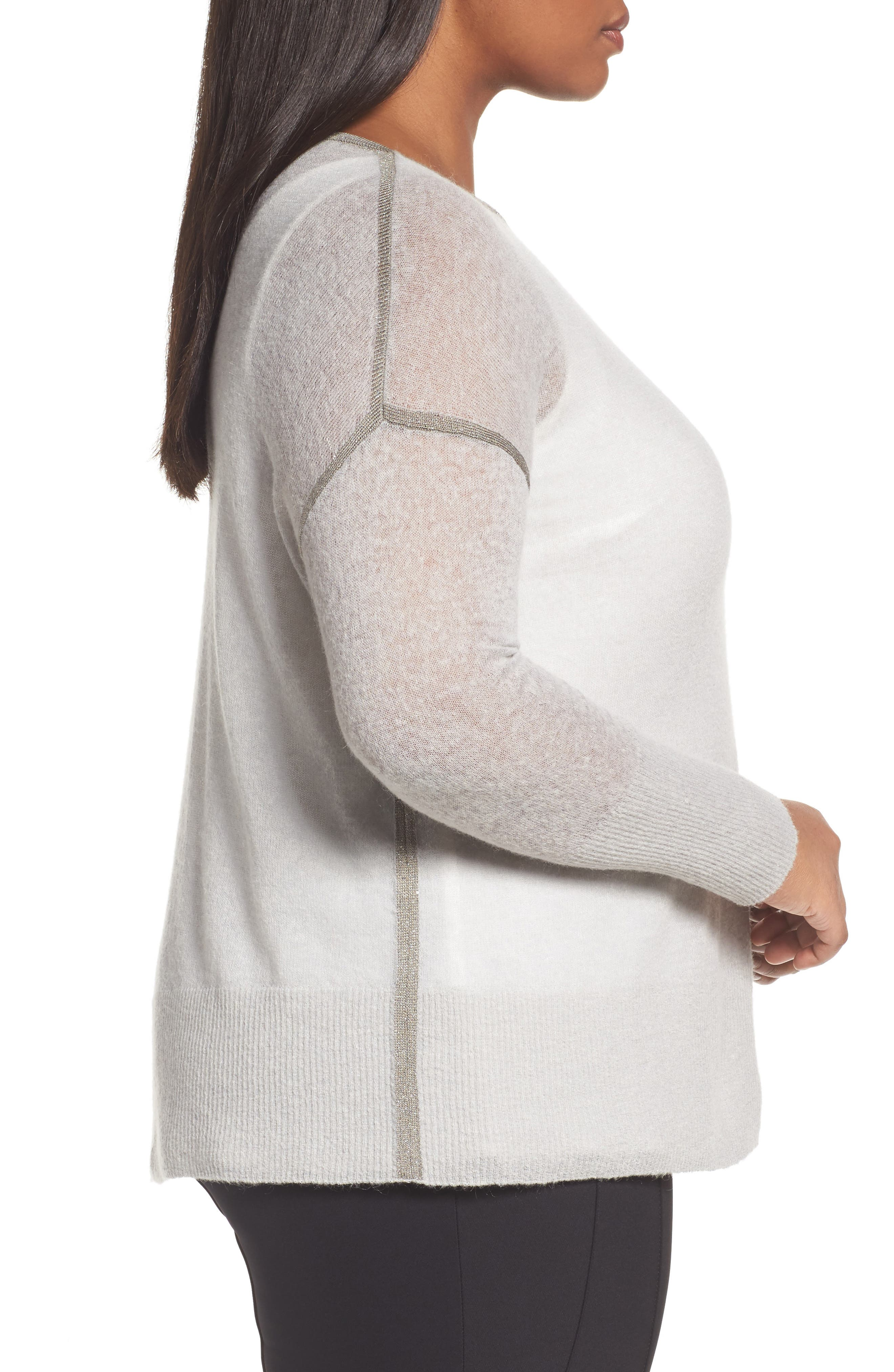 Shimmer Trim Sweater with Tank,                             Alternate thumbnail 3, color,                             Antique Silver