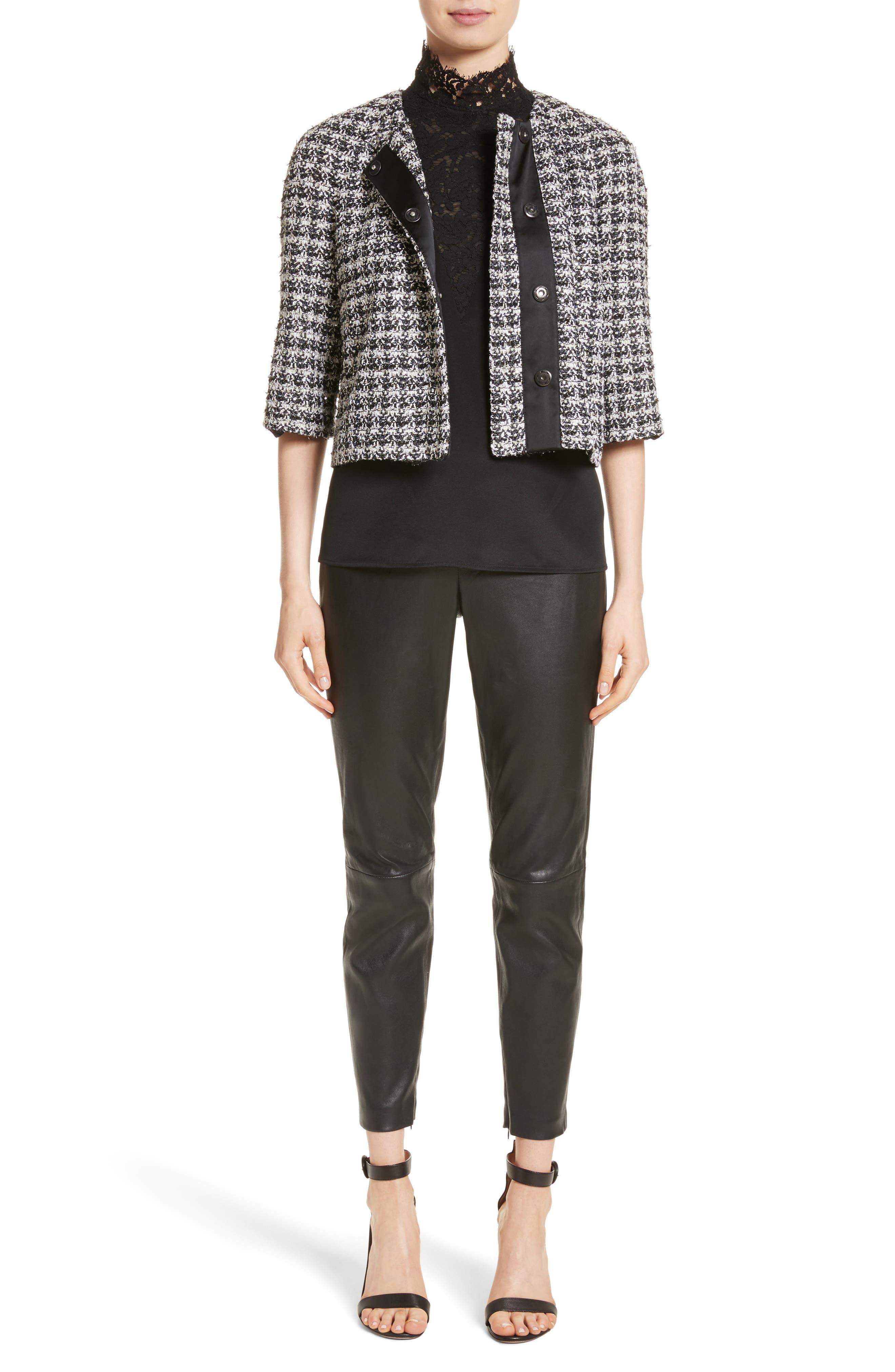 Metallic Plaid Tweed Jacket,                             Alternate thumbnail 6, color,                             Caviar Multi