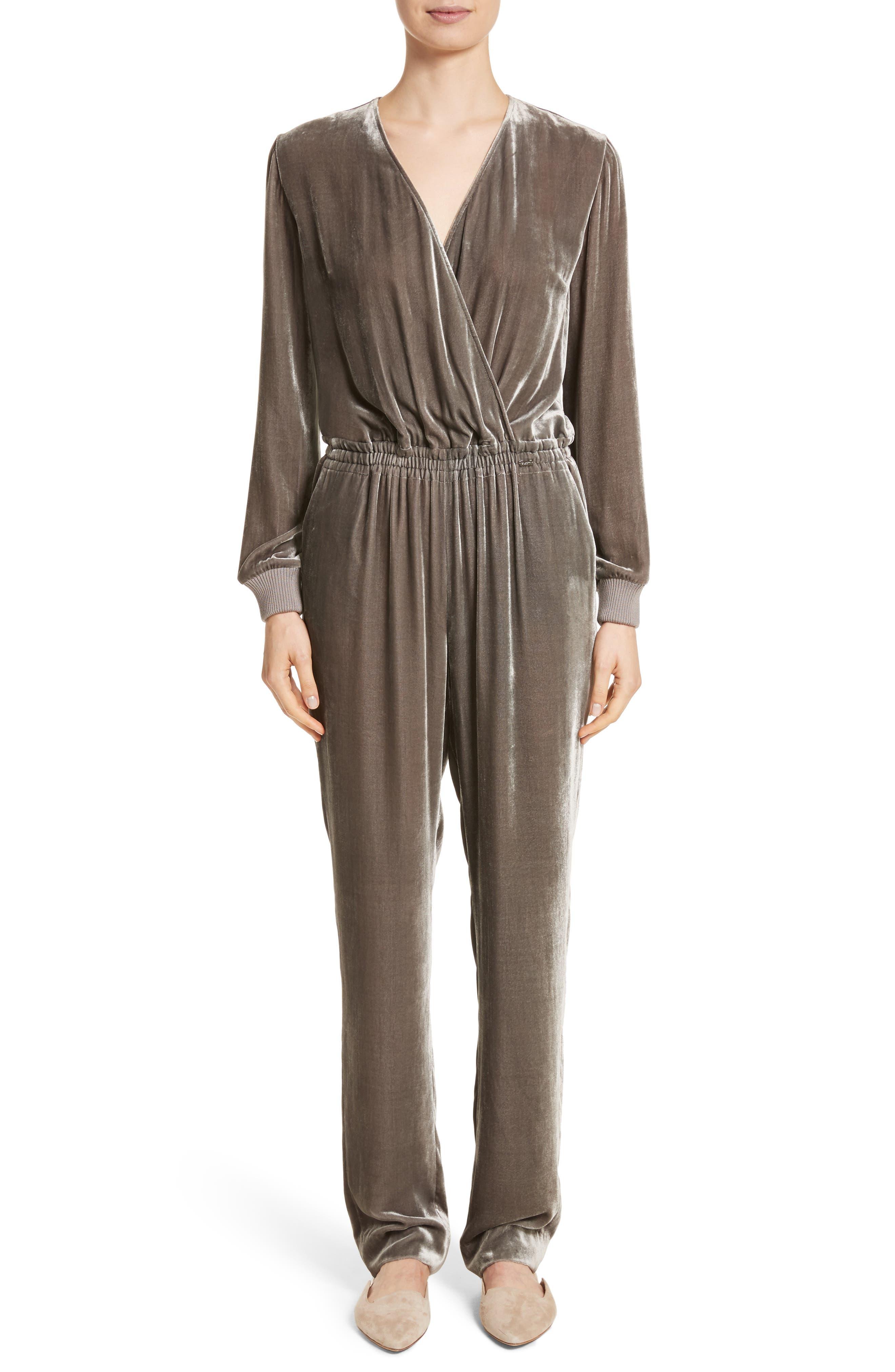 Main Image - St. John Collection Velvet Jumpsuit