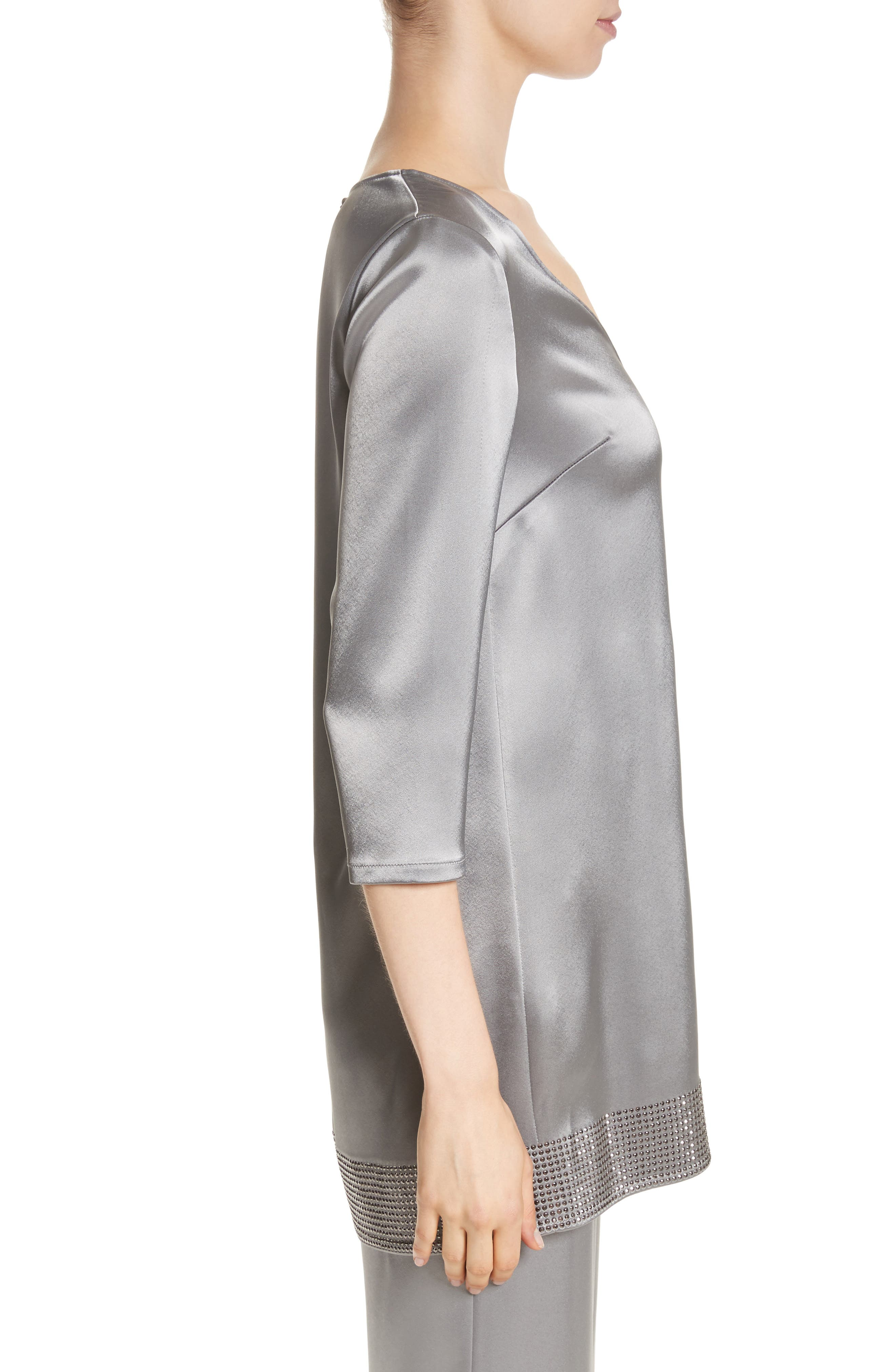 Alternate Image 3  - St. John Collection Liquid Satin Asymmetrical Top