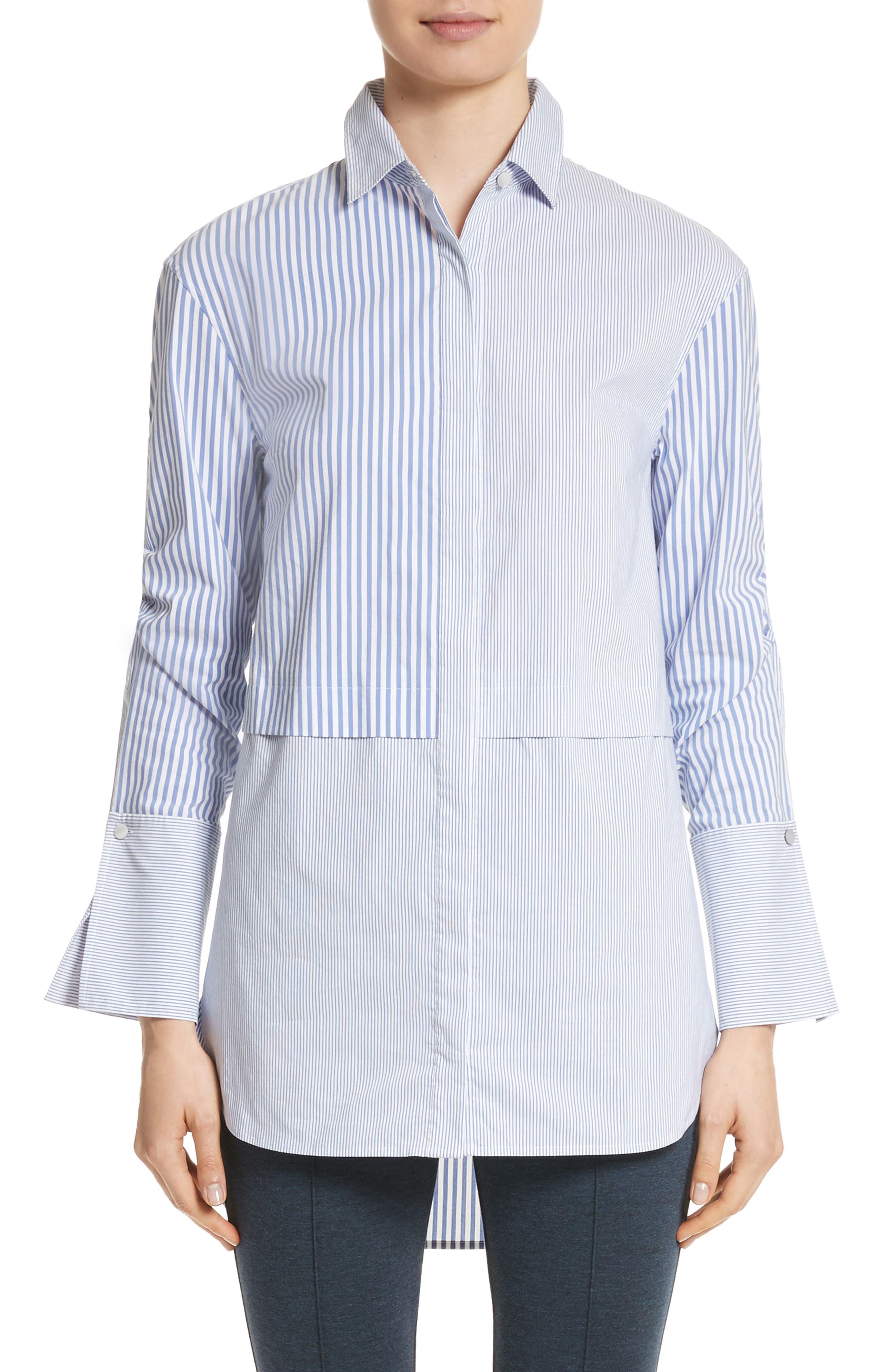 Striped Shirting Tunic,                         Main,                         color, Blue/ Bianco