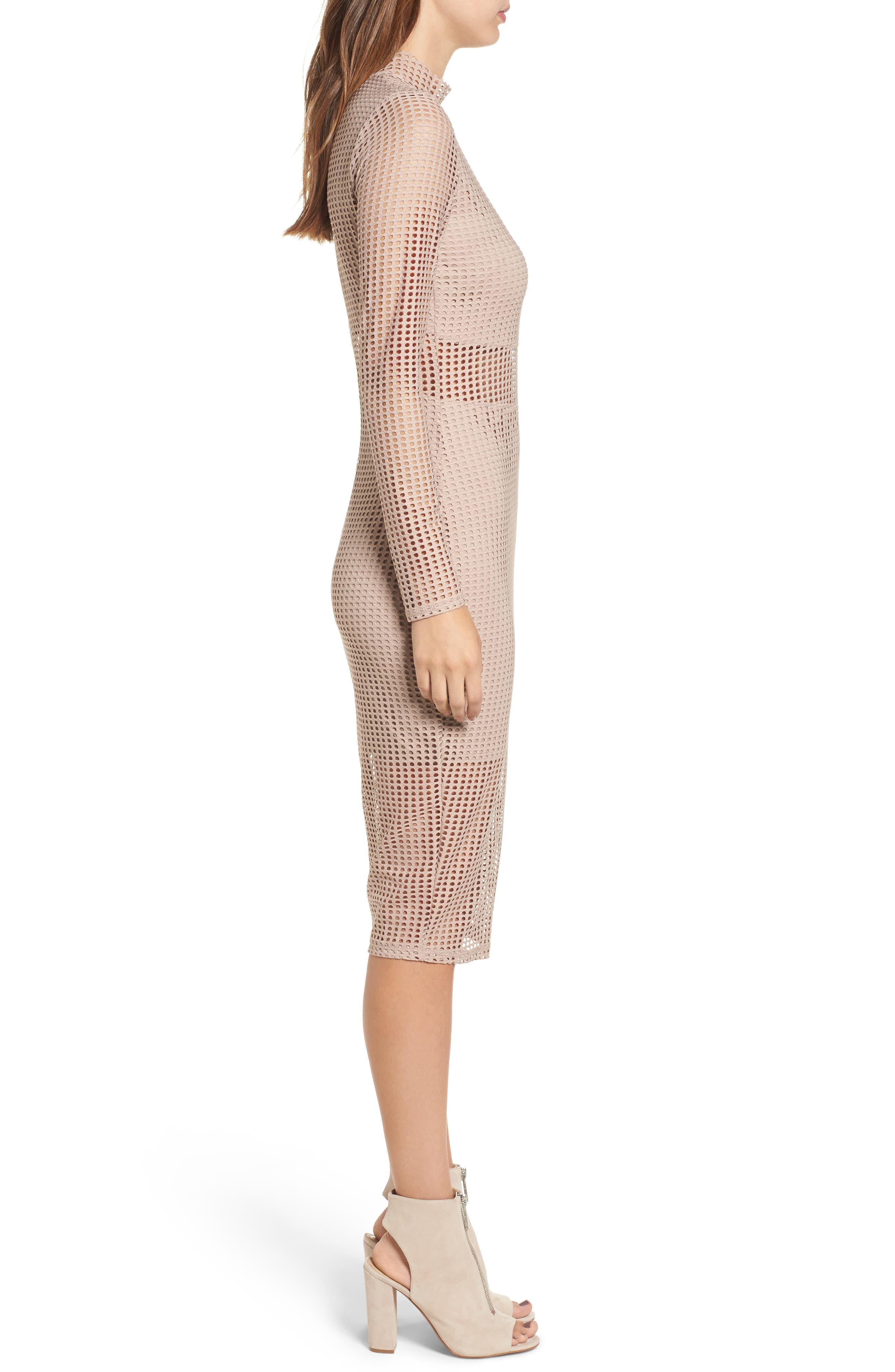 Laser Cut Body-Con Dress,                             Alternate thumbnail 3, color,                             Dusty Pink