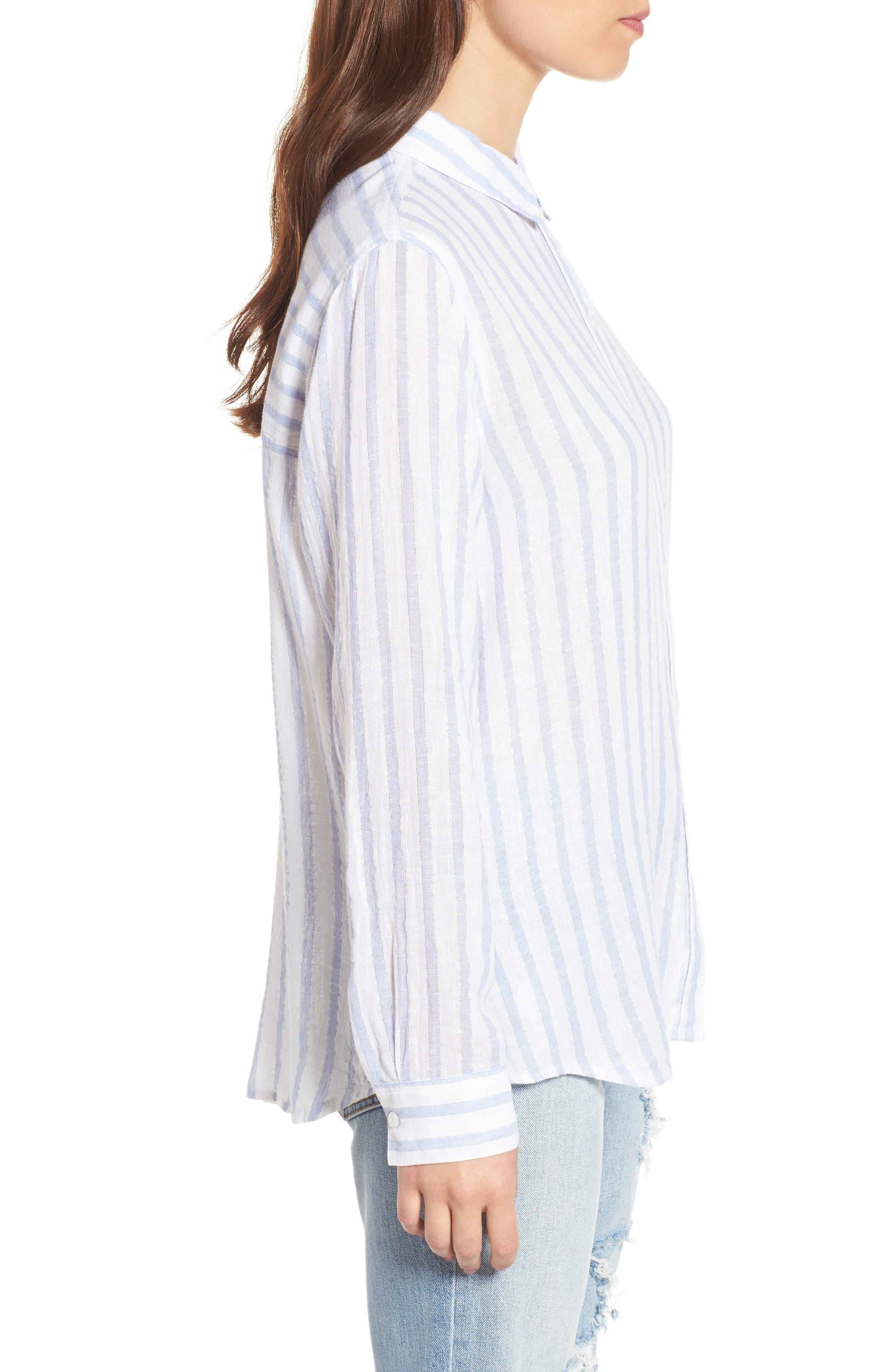 Sydney Vertical Shimmer Stripe Linen Blend Shirt,                             Alternate thumbnail 3, color,                             Cornflower Stripe/ Silver