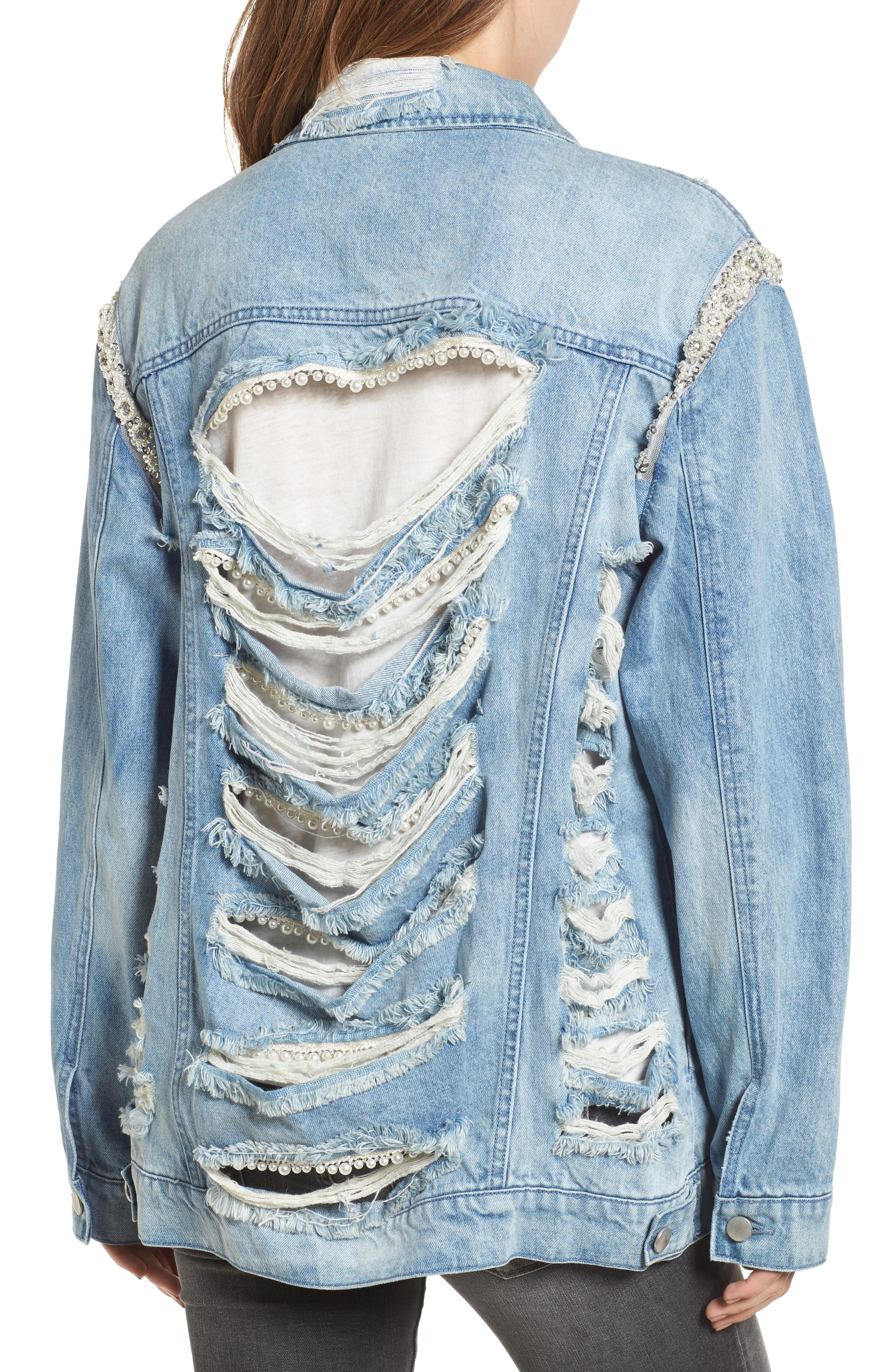 Embellished Ripped Denim Jacket,                             Main thumbnail 1, color,                             Blue W/ Pearls & Diamonds
