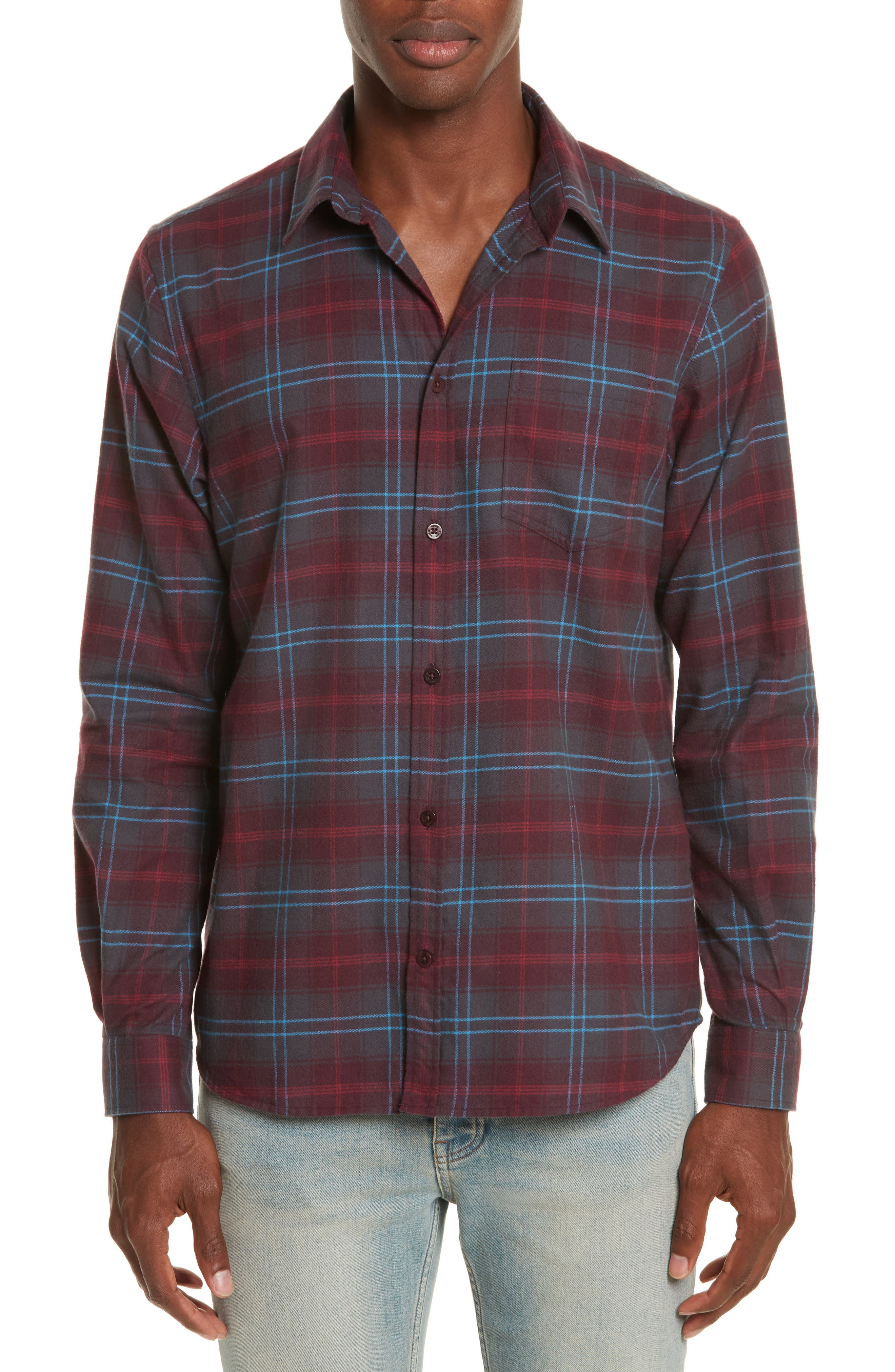 Hans Brushed Check Shirt,                         Main,                         color, Hematite Red
