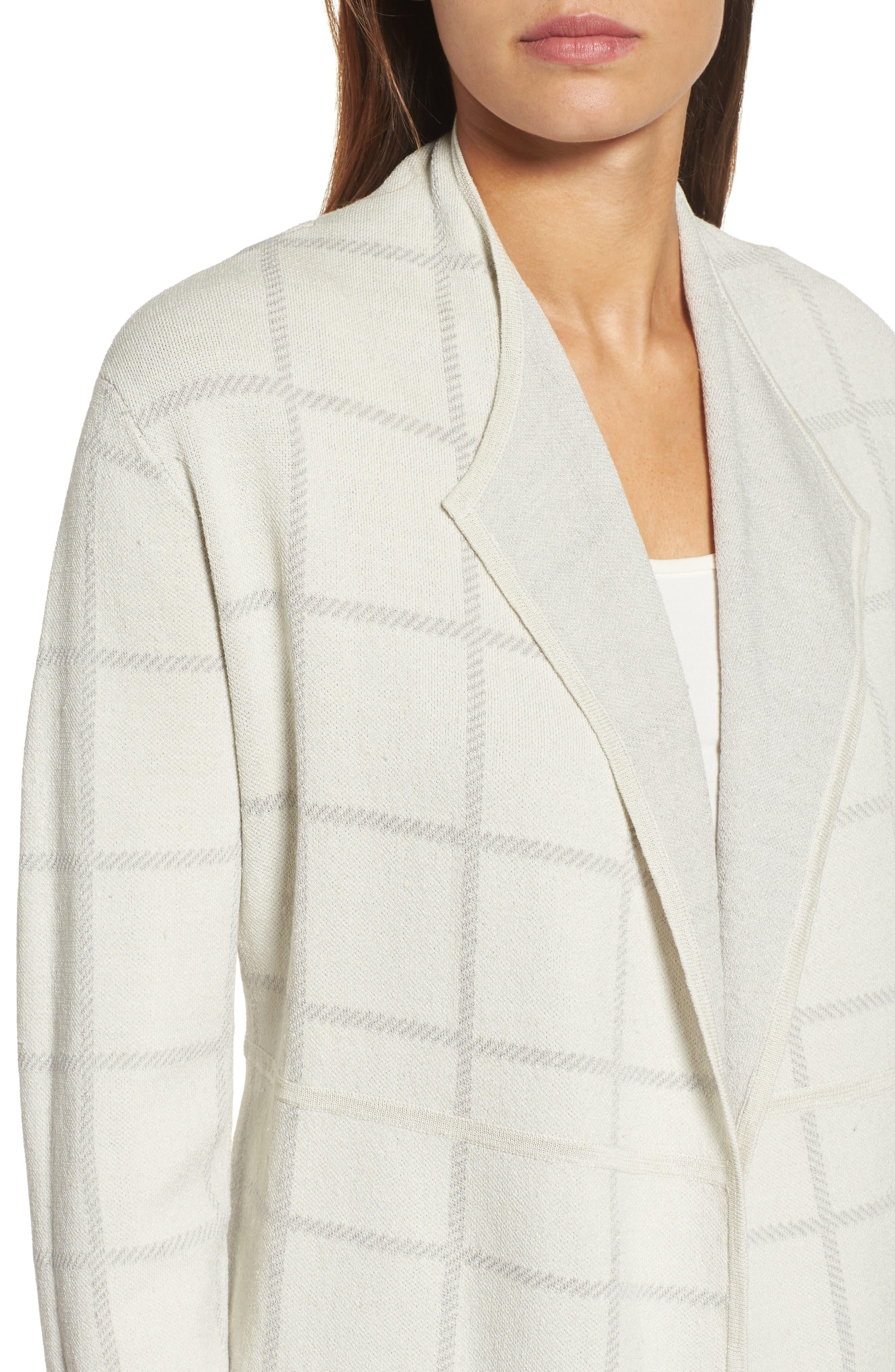 Alternate Image 4  - Eileen Fisher Linen Blend Angle Front Cardigan