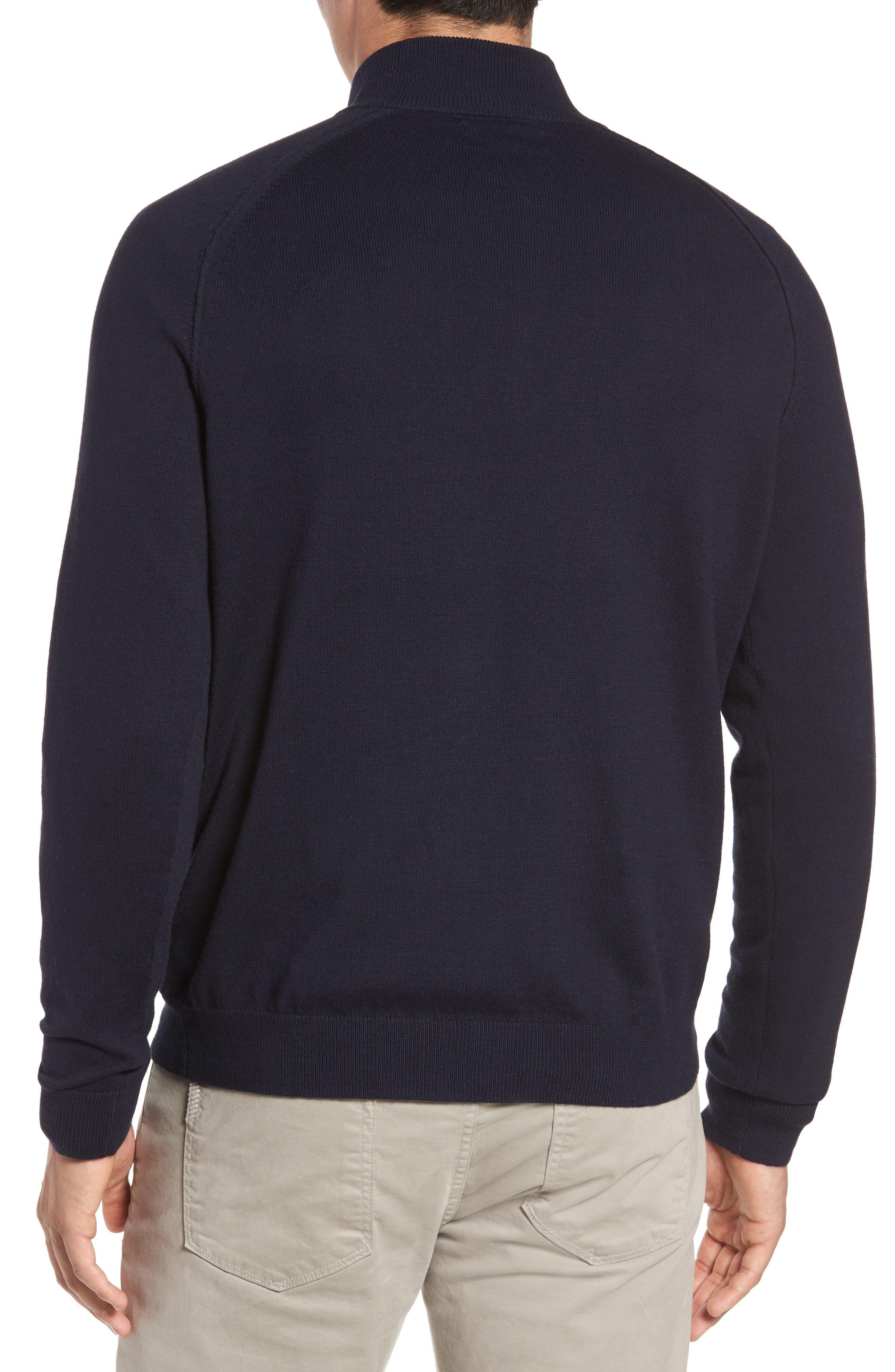 Alternate Image 2  - Nordstrom Men's Shop Saddle Shoulder Quarter Zip Cotton & Cashmere Pullover