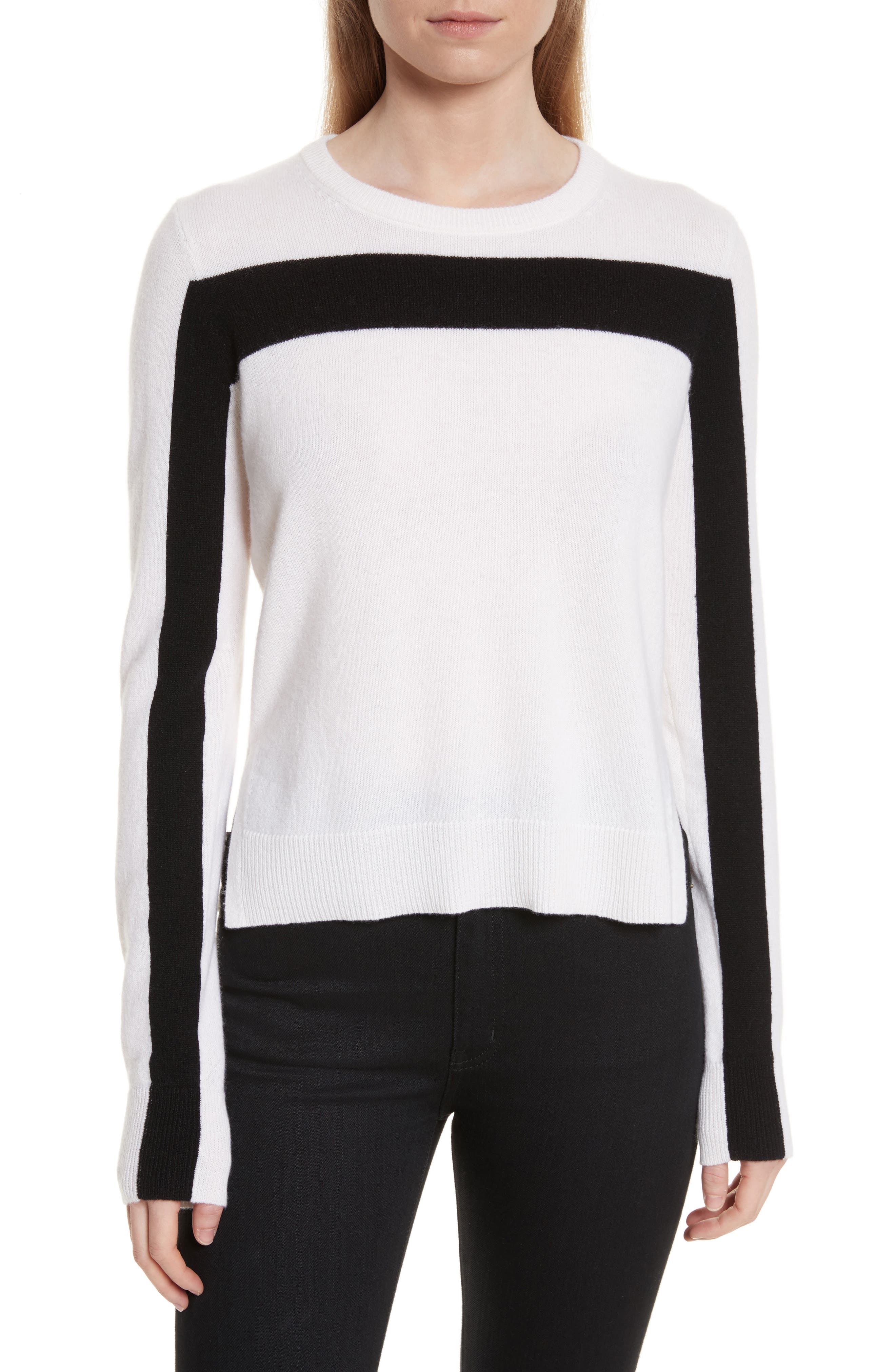 Shirley Cashmere Sweater,                         Main,                         color, Ivory/ Black