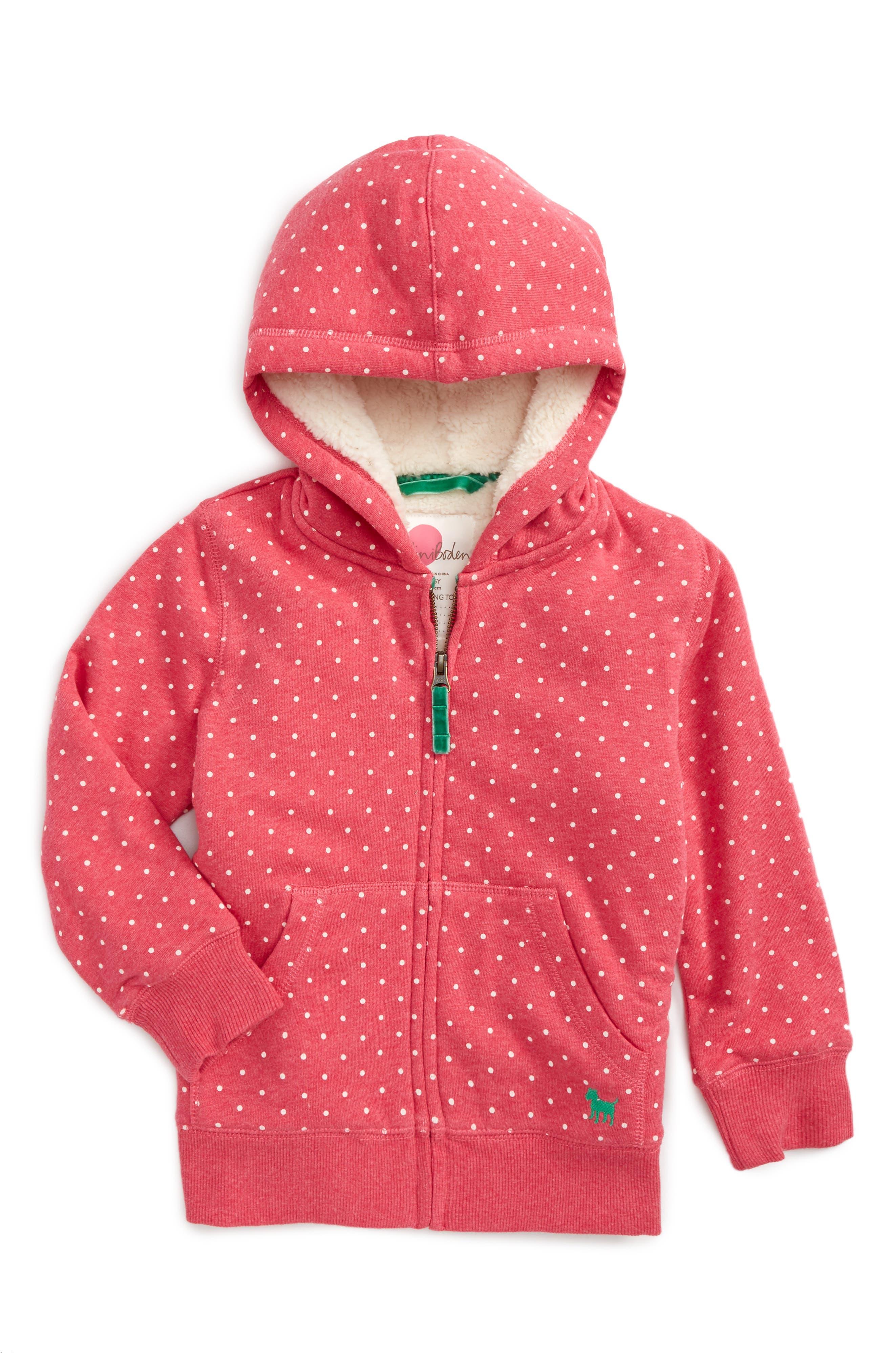 Boden Print Shaggy Lined Hoodie (Toddler Girls, Little Girls & Big Girls)
