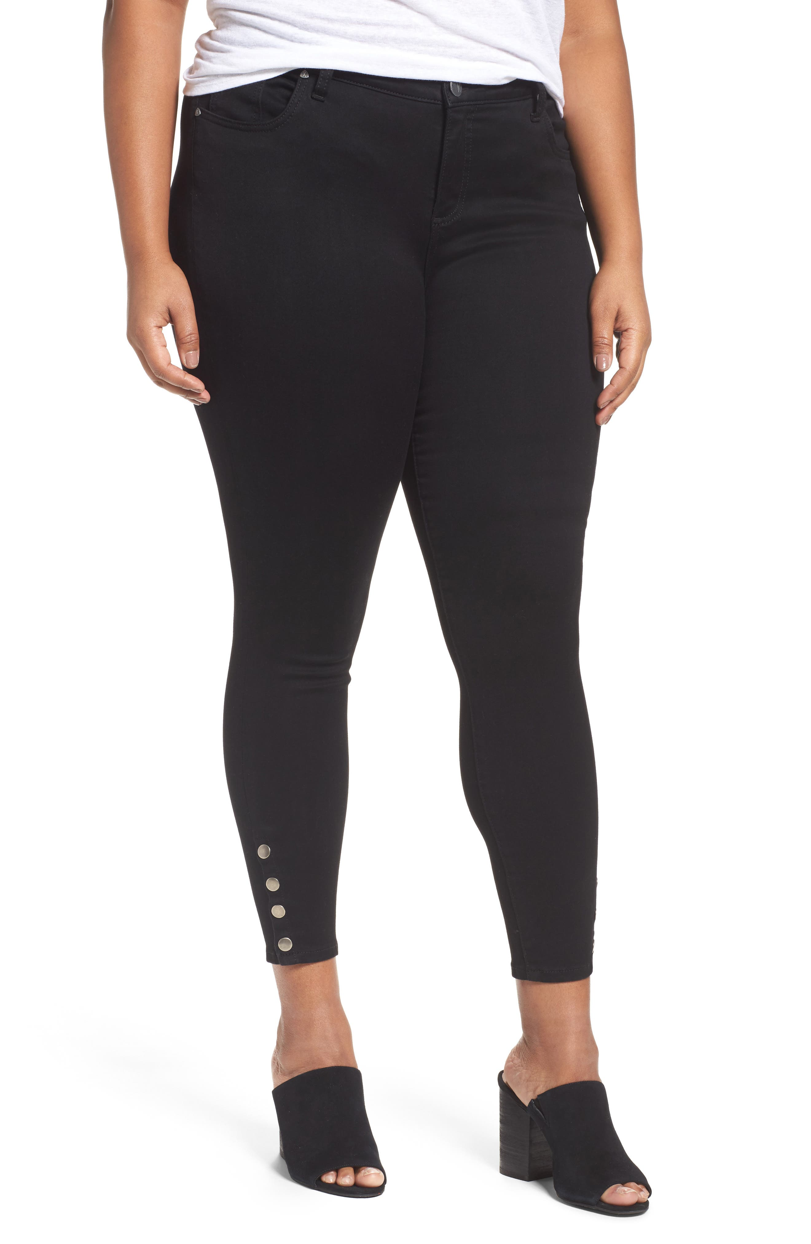 Kut From The Kloth Connie Ankle Skinny Jeans (Saturated Black) (Plus Size)