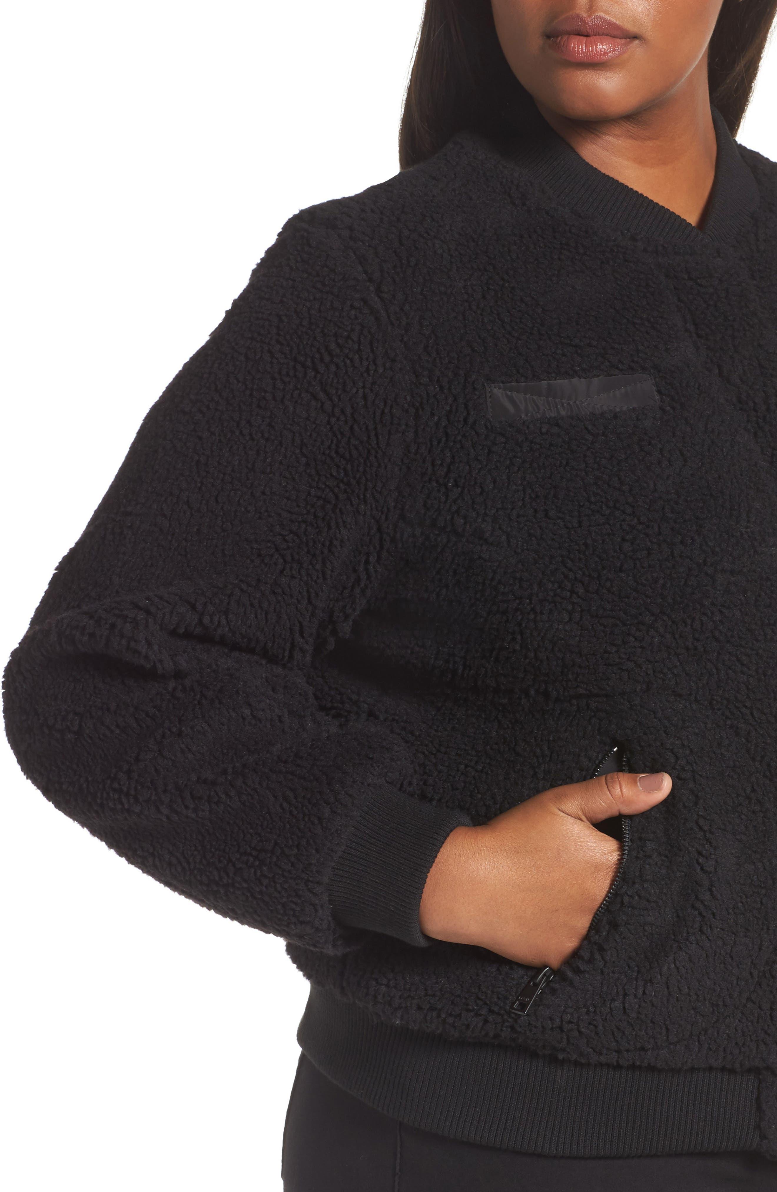 Rib Knit Fleece Bomber Jacket,                             Alternate thumbnail 4, color,                             Black