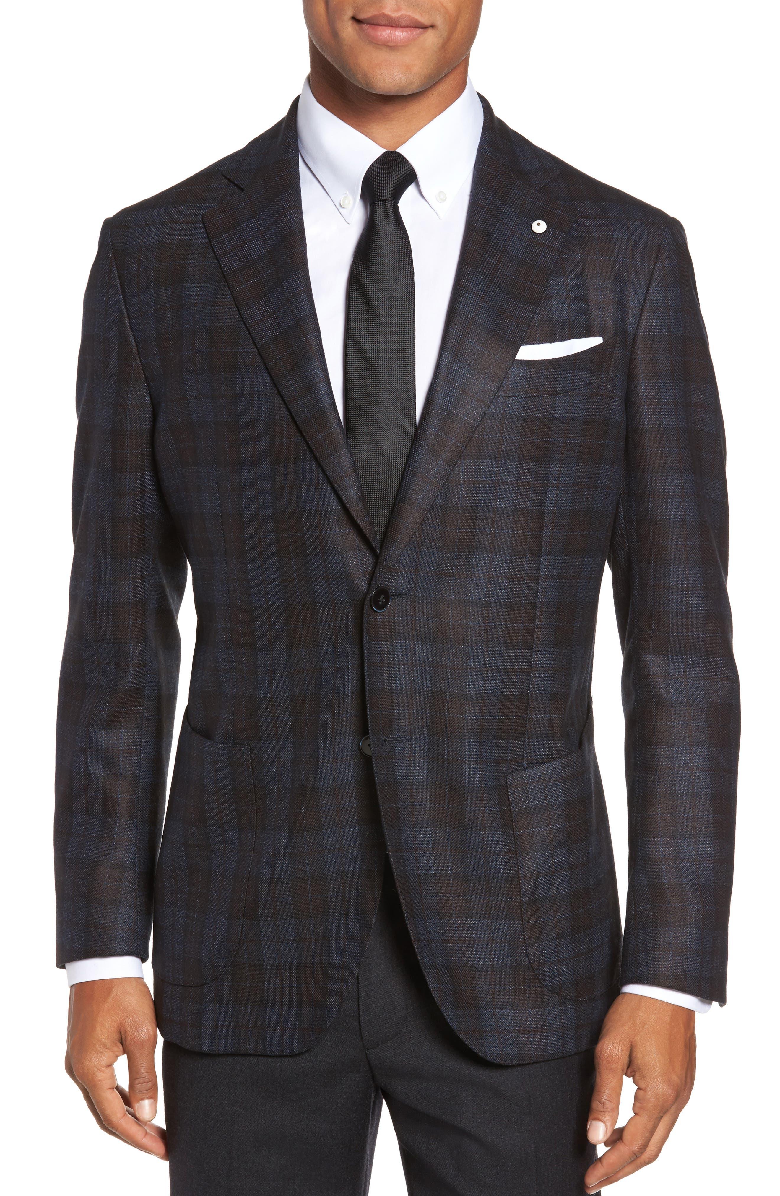L.B.M. 1911 Classic Fit Plaid Silk & Wool Sport Coat