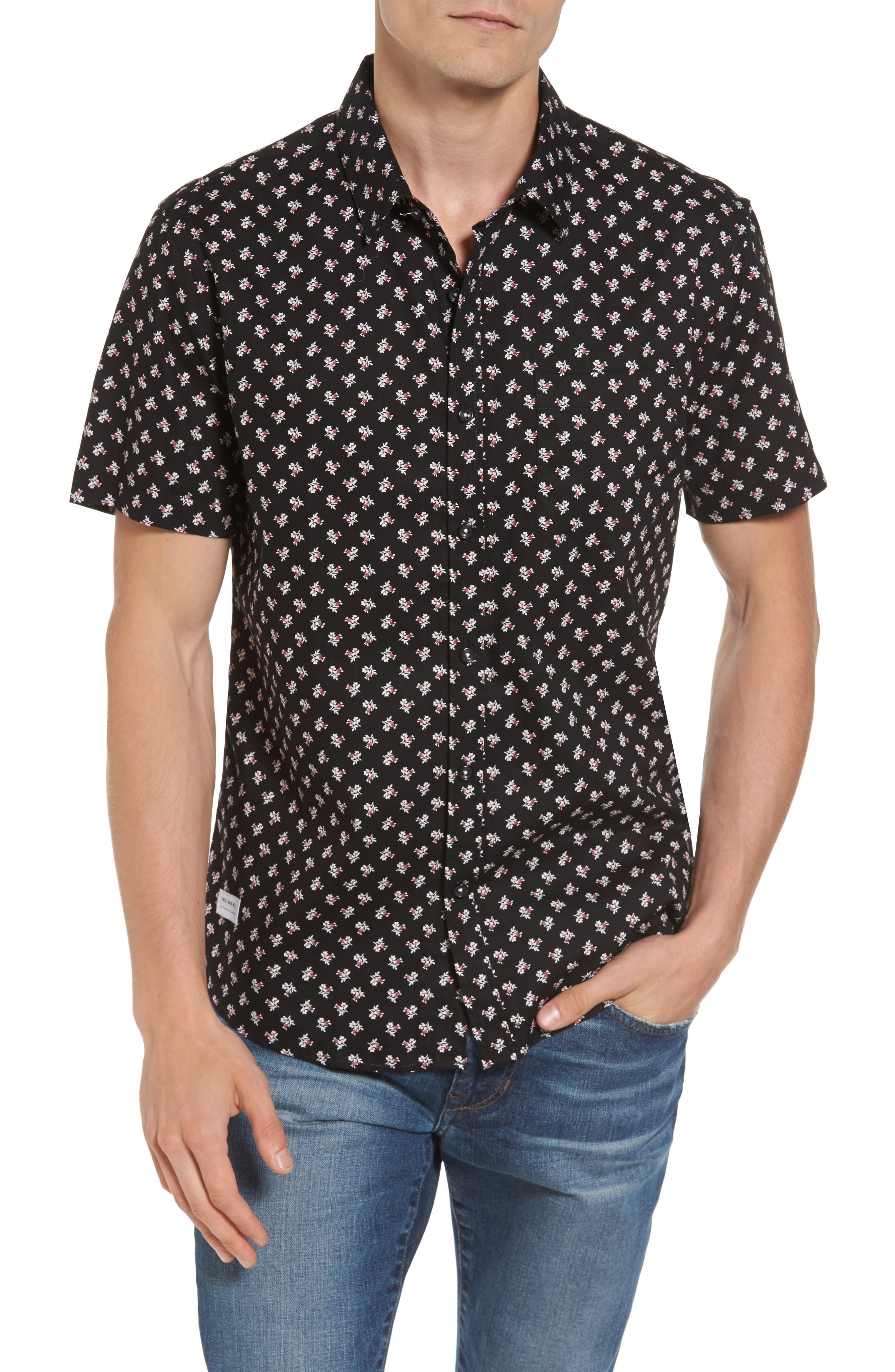 Shadow Dancing Print Woven Shirt,                             Main thumbnail 1, color,                             Black
