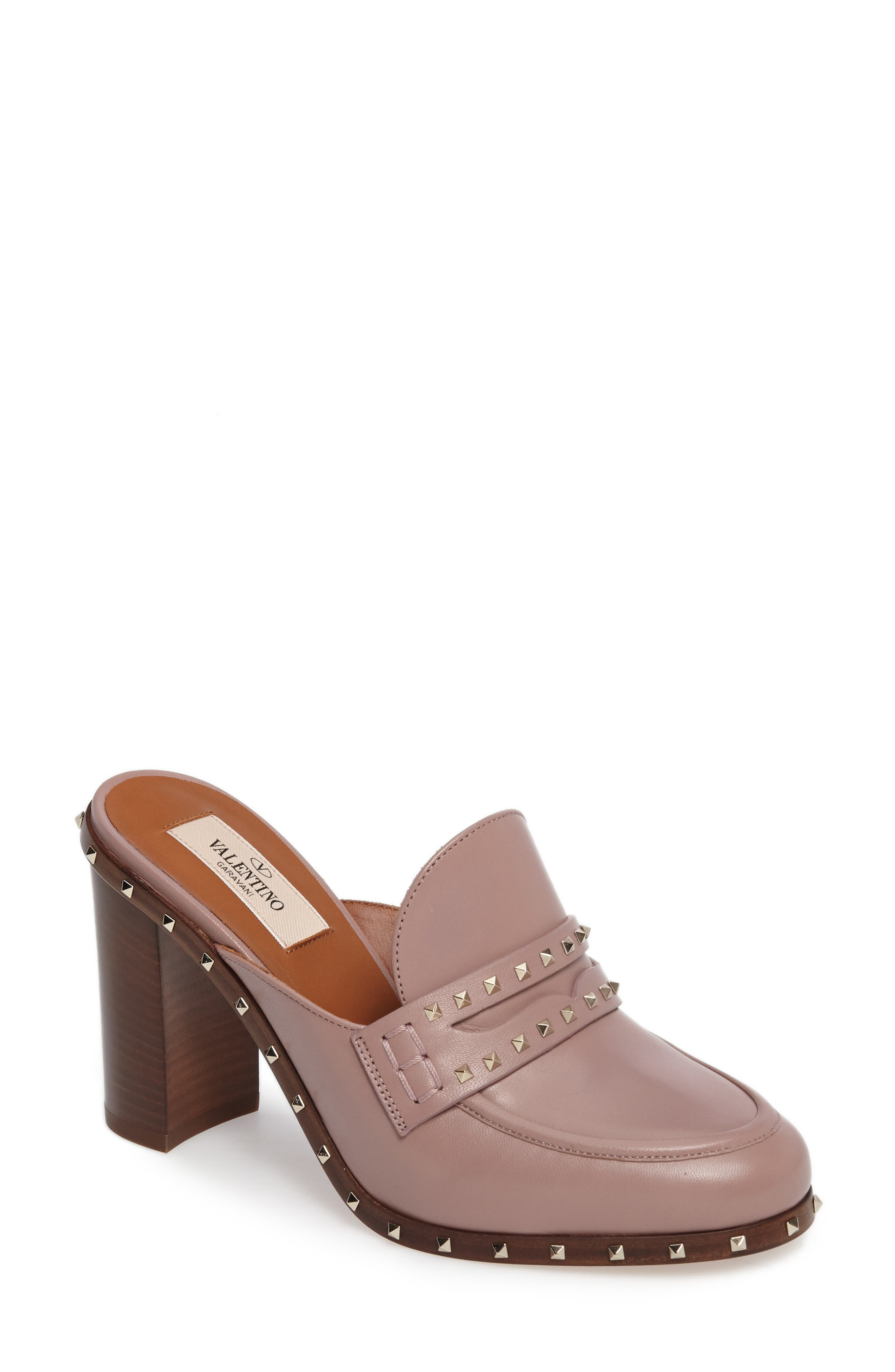Rockstud Loafer Mule,                             Main thumbnail 1, color,                             Pink Leather