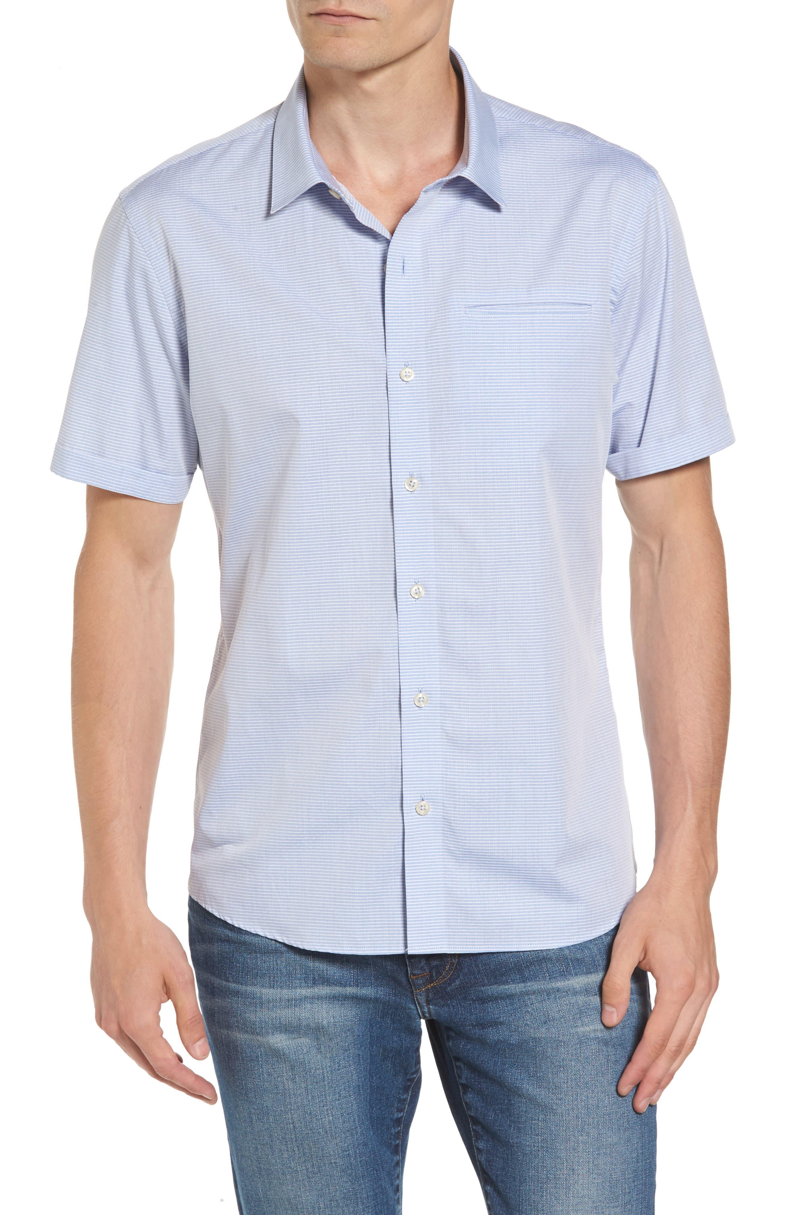 Stripe Woven Shirt,                             Main thumbnail 1, color,                             Light Blue