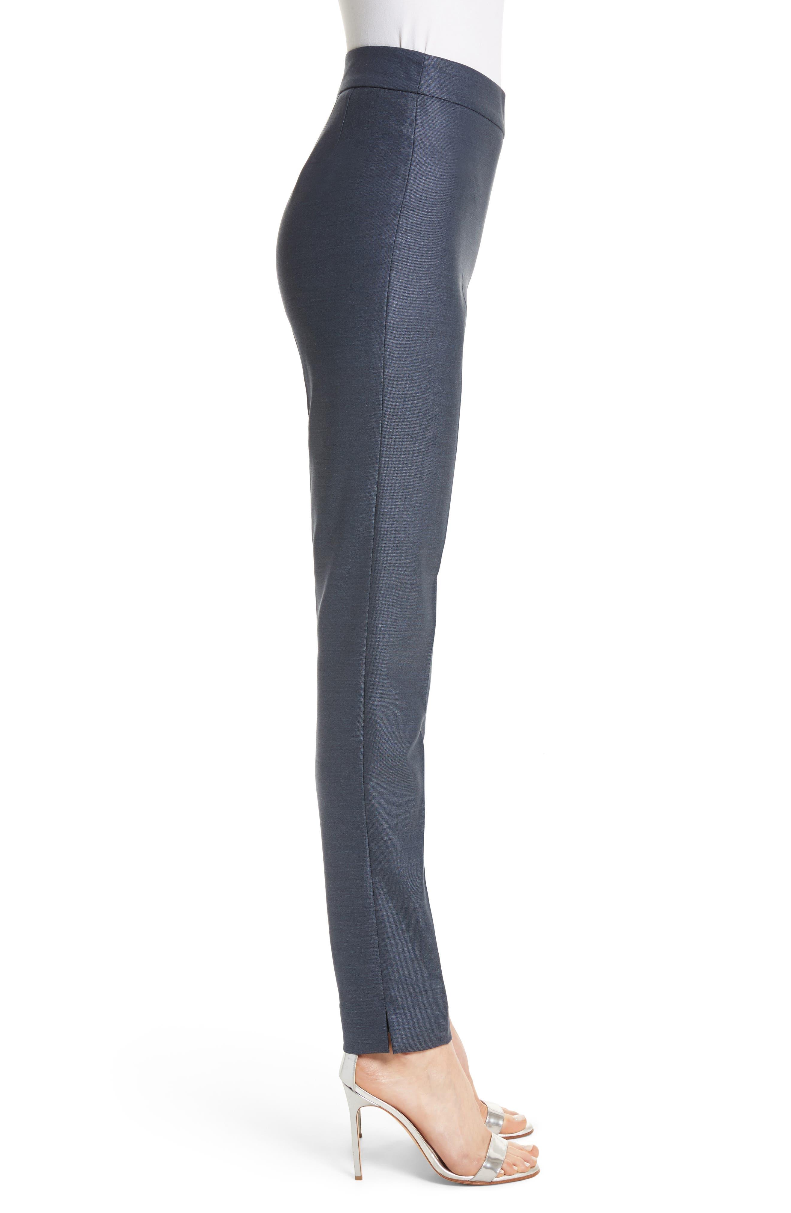 Stretch Birdseye Skinny Ankle Pants,                             Alternate thumbnail 3, color,                             Light Navy Melange