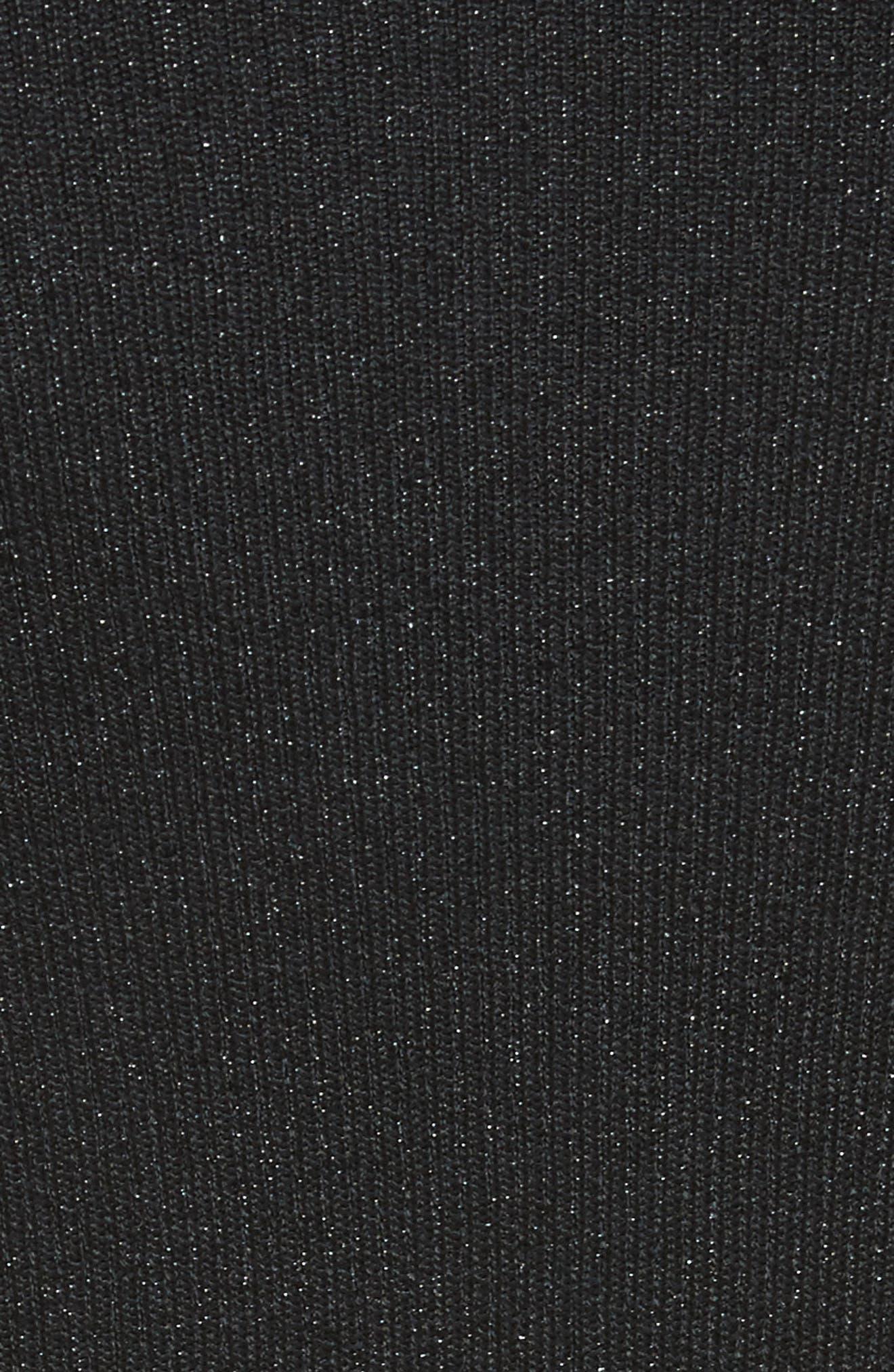 Metallic Tie Waist Dress,                             Alternate thumbnail 5, color,                             Black