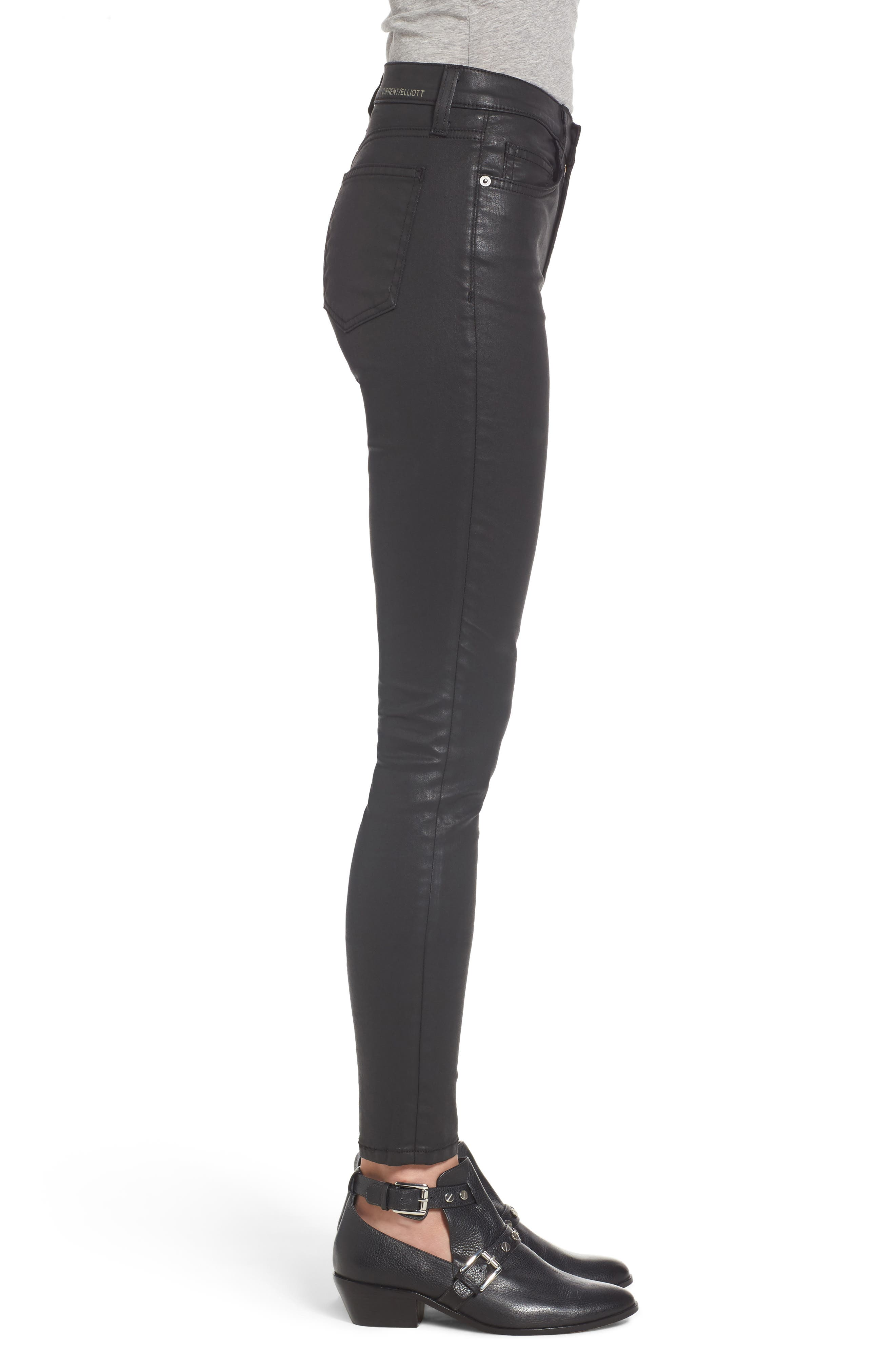The High Waist Ankle Skinny Jeans,                             Alternate thumbnail 3, color,                             Black Coated