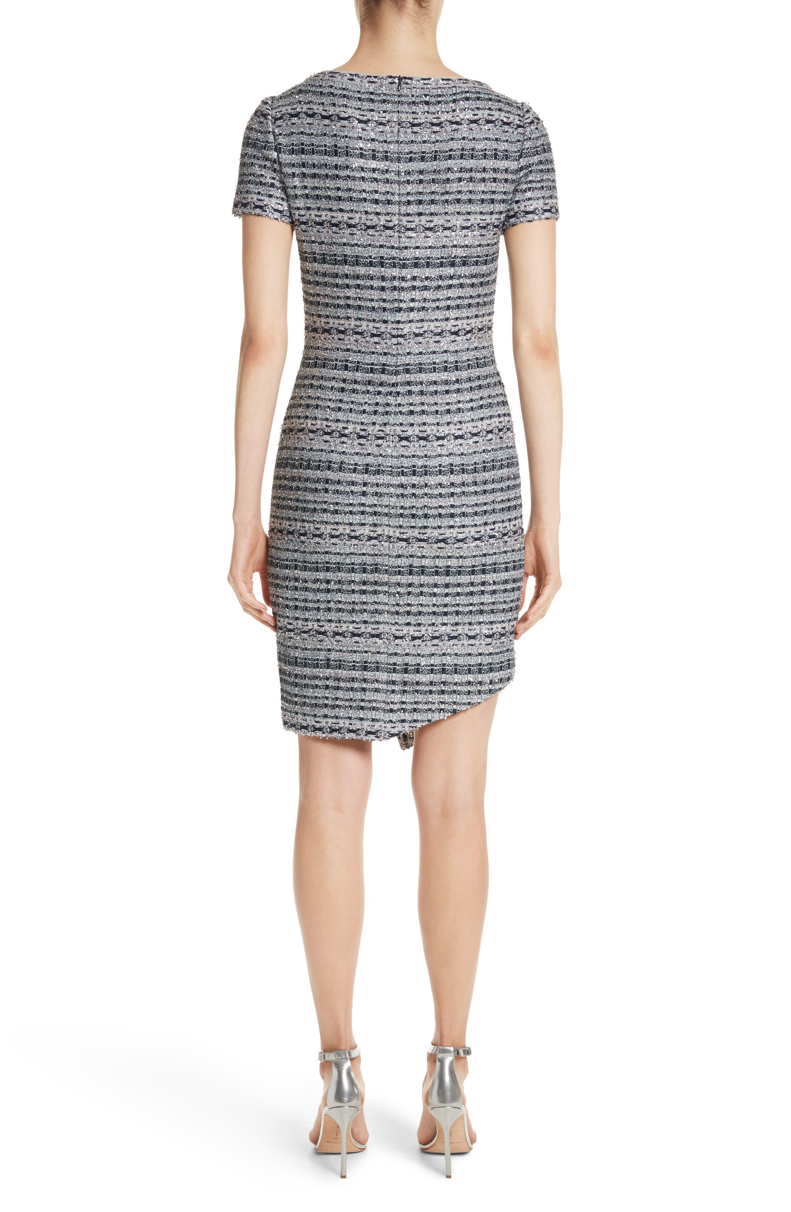 Metallic Jacquard Dress,                             Alternate thumbnail 3, color,                             Gunmetal Multi