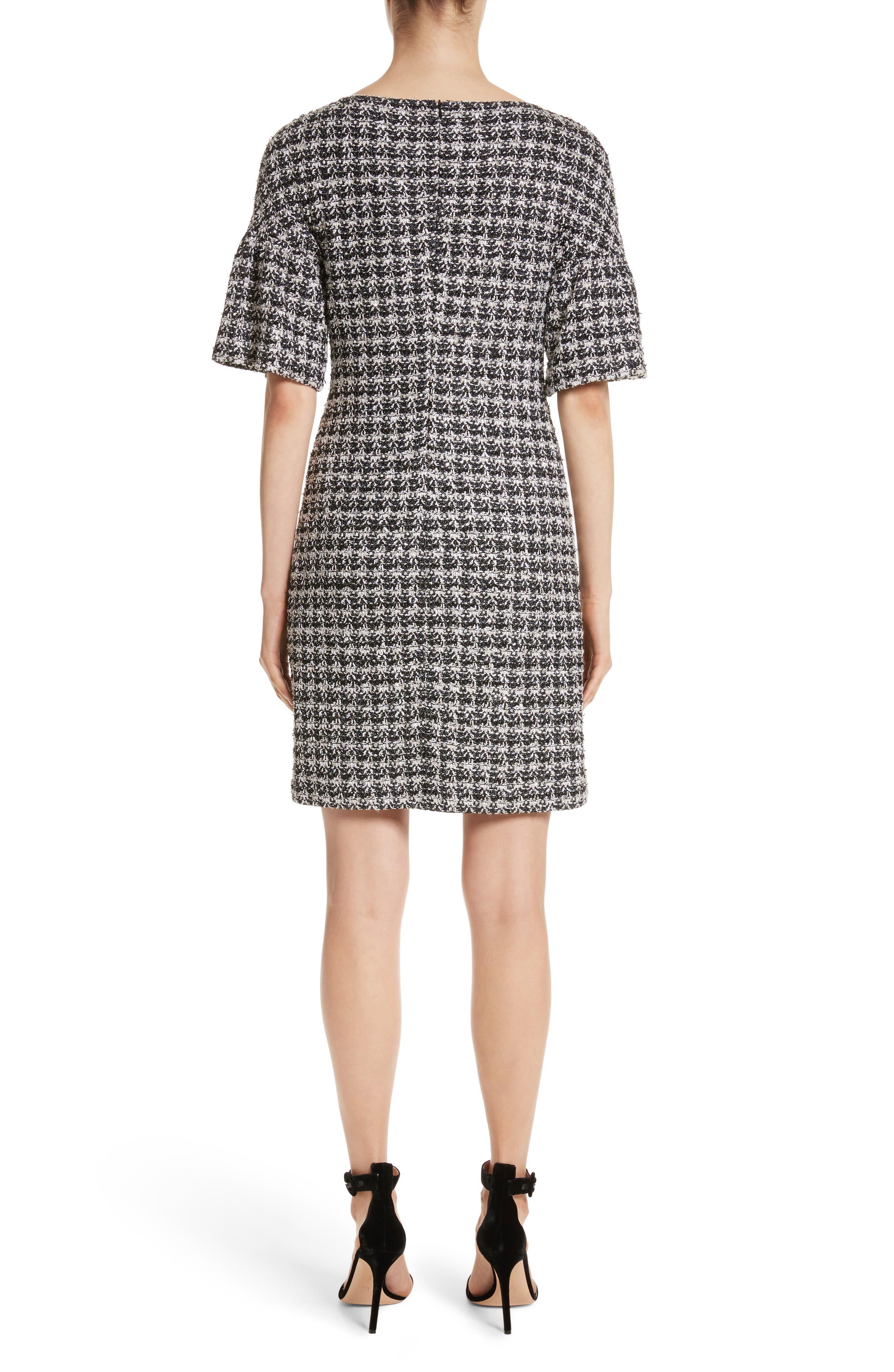 Metallic Tweed Bell Sleeve Dress,                             Alternate thumbnail 2, color,                             Caviar Multi