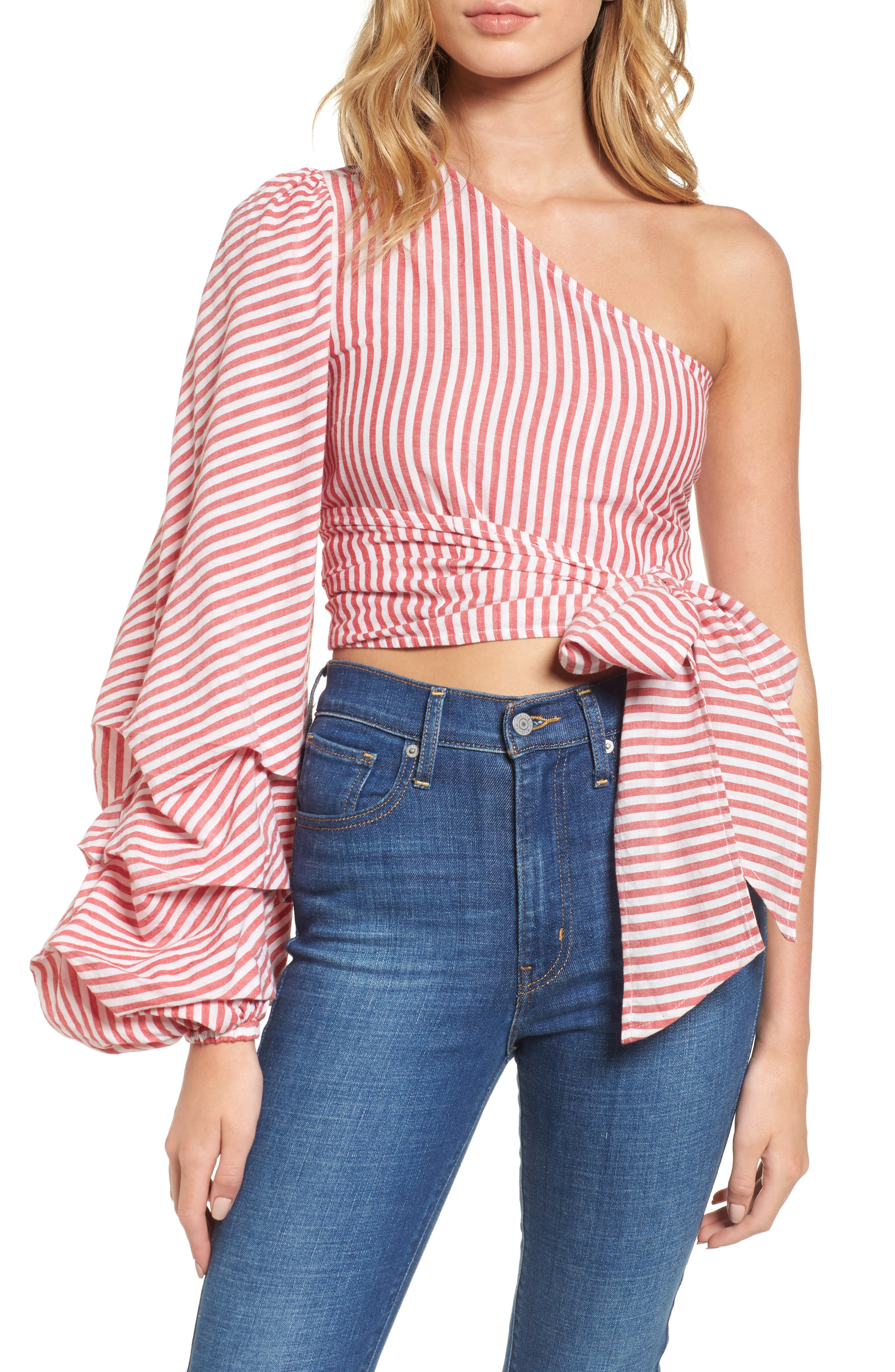 L'Academie Reckless One-Shoulder Wrap Blouse,                         Main,                         color, Red/ White Stripe