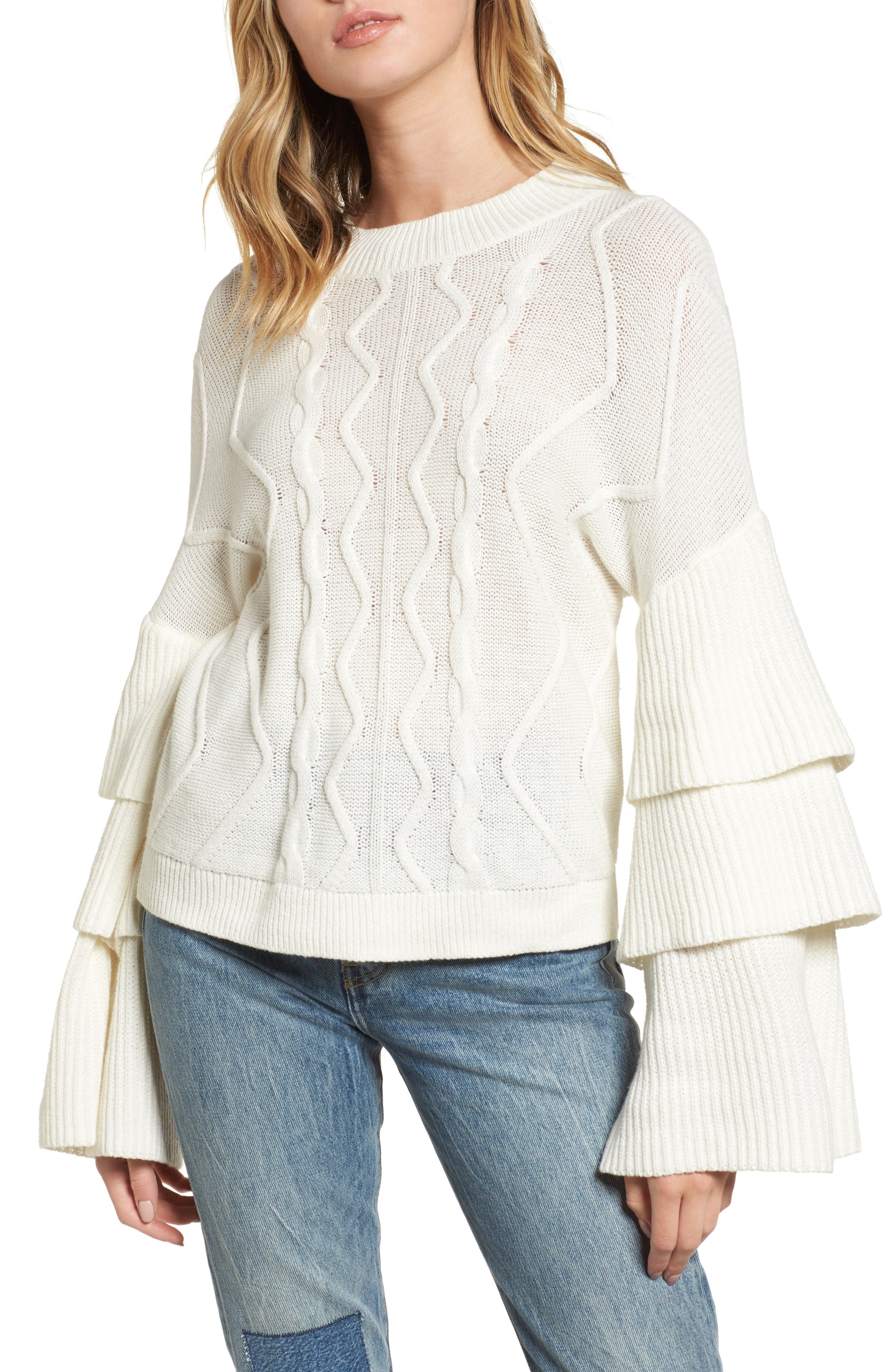 BP. Tiered Sleeve Cable Knit Sweater