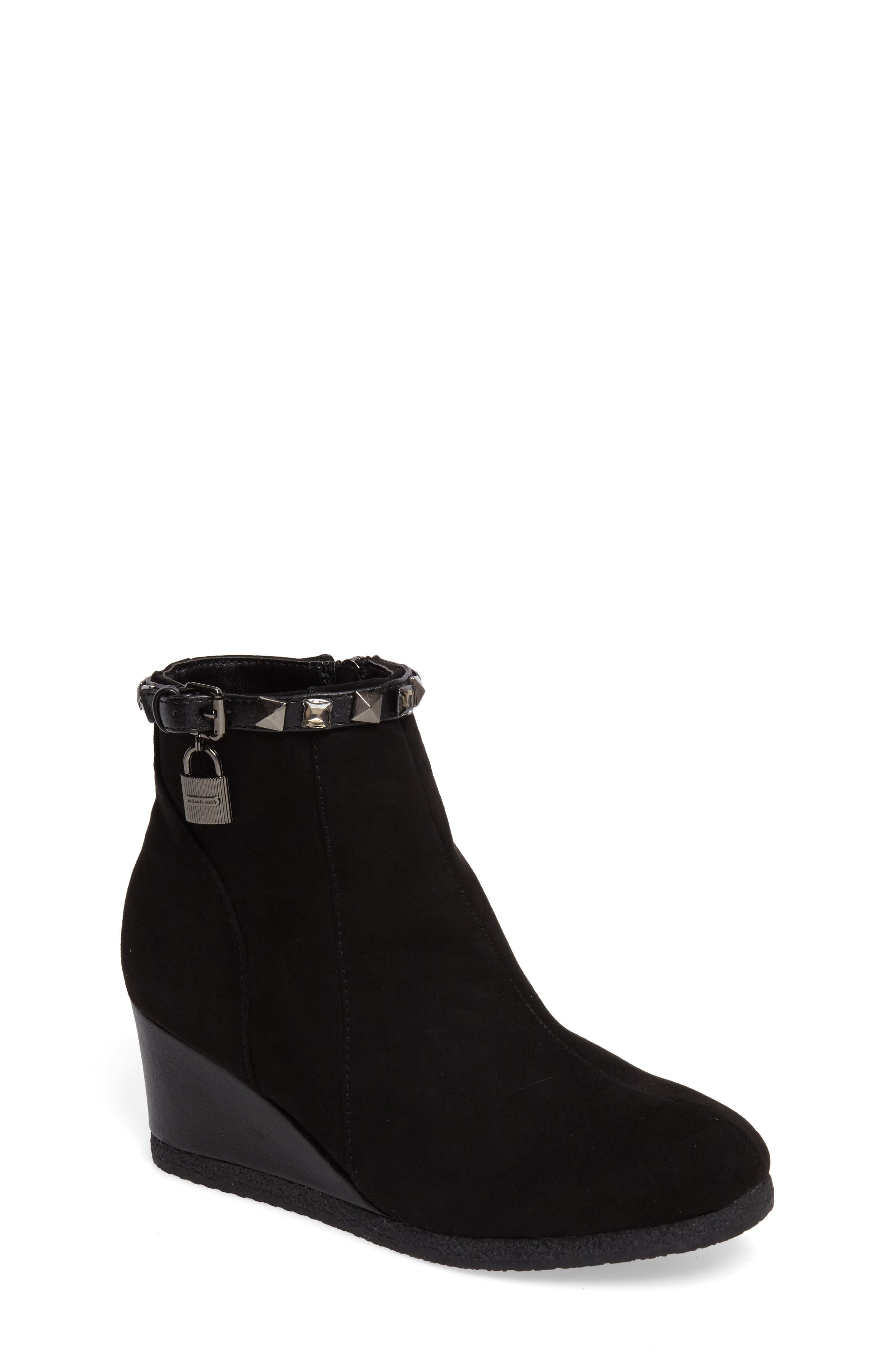 Cara Key Studded Wedge Bootie,                             Main thumbnail 1, color,                             Black