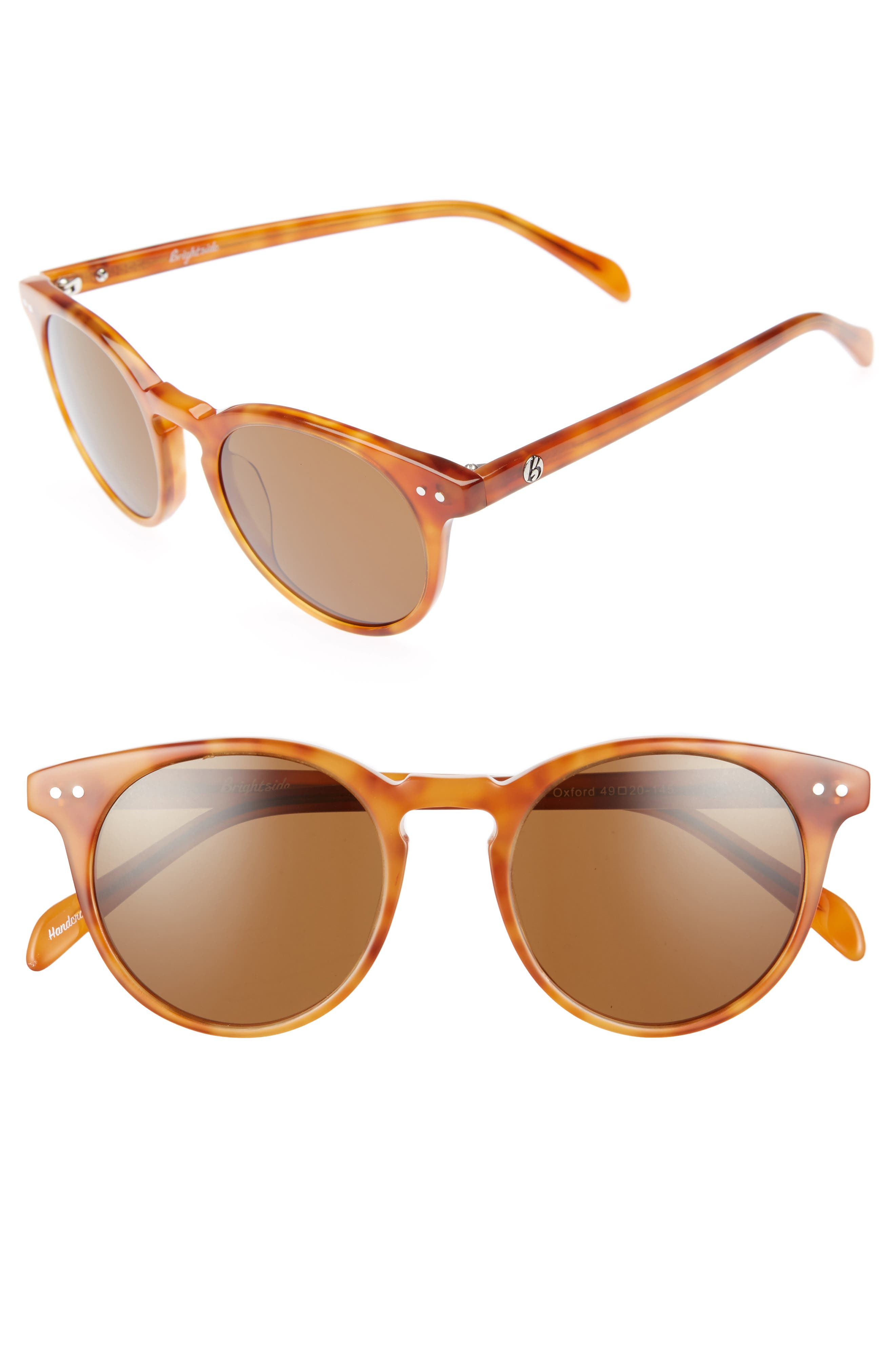 Oxford 49mm Sunglasses,                             Main thumbnail 1, color,                             Light Brown/ Brown