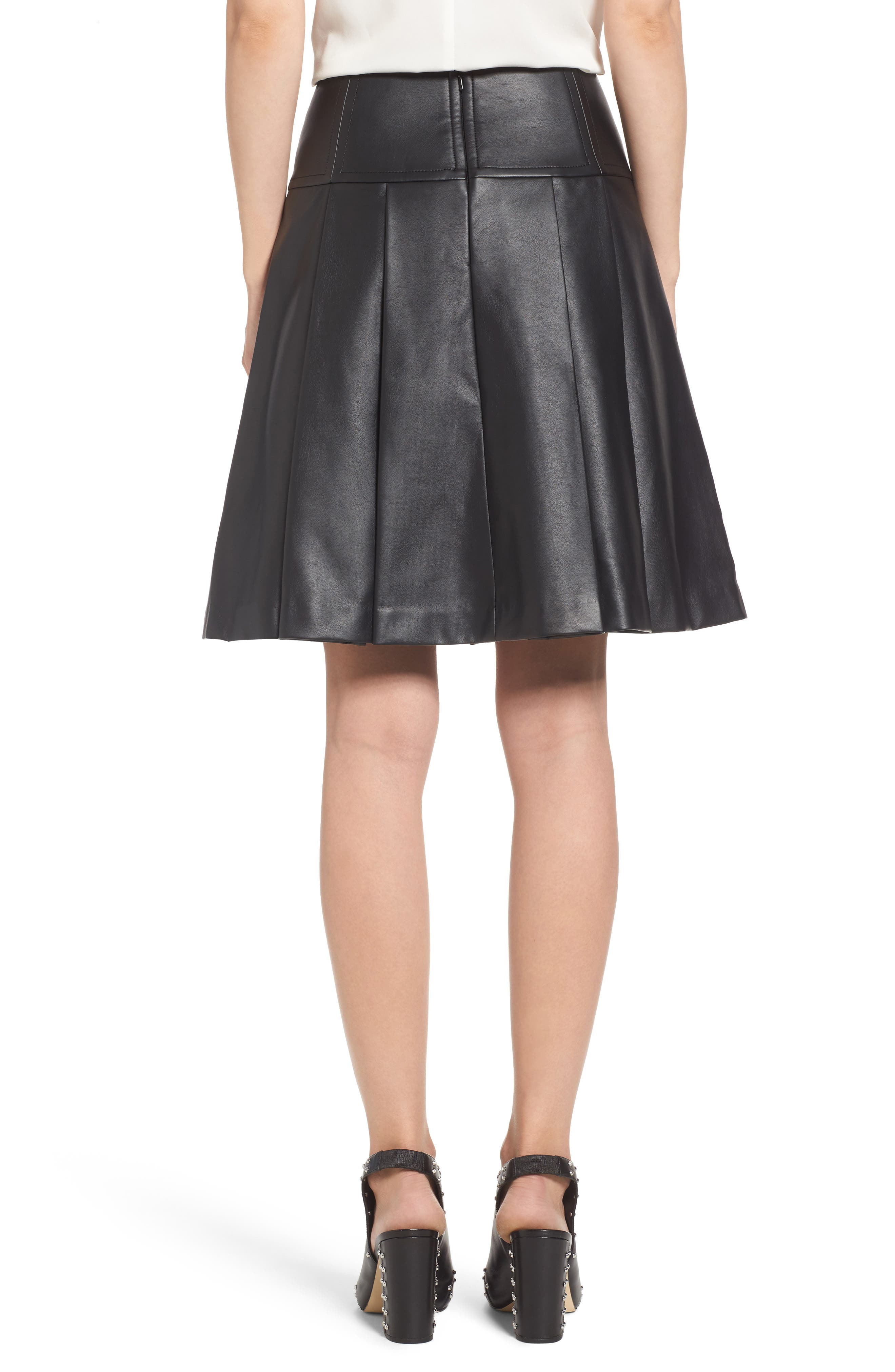 Alternate Image 2  - MICHAEL Michael Kors Pleat Faux Leather Skirt