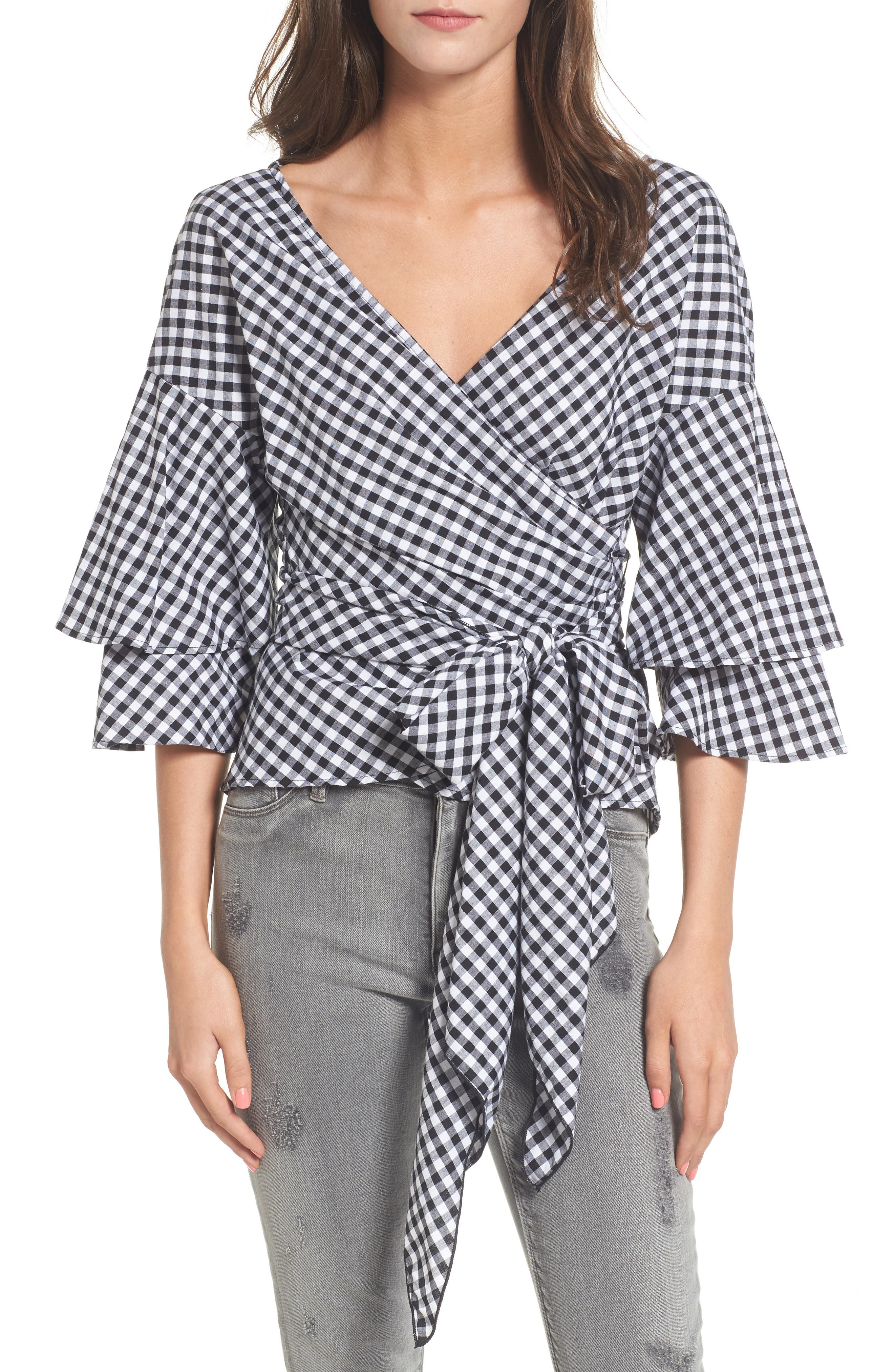Beckett Tiered Bell Sleeve Top,                         Main,                         color, Black Gingham