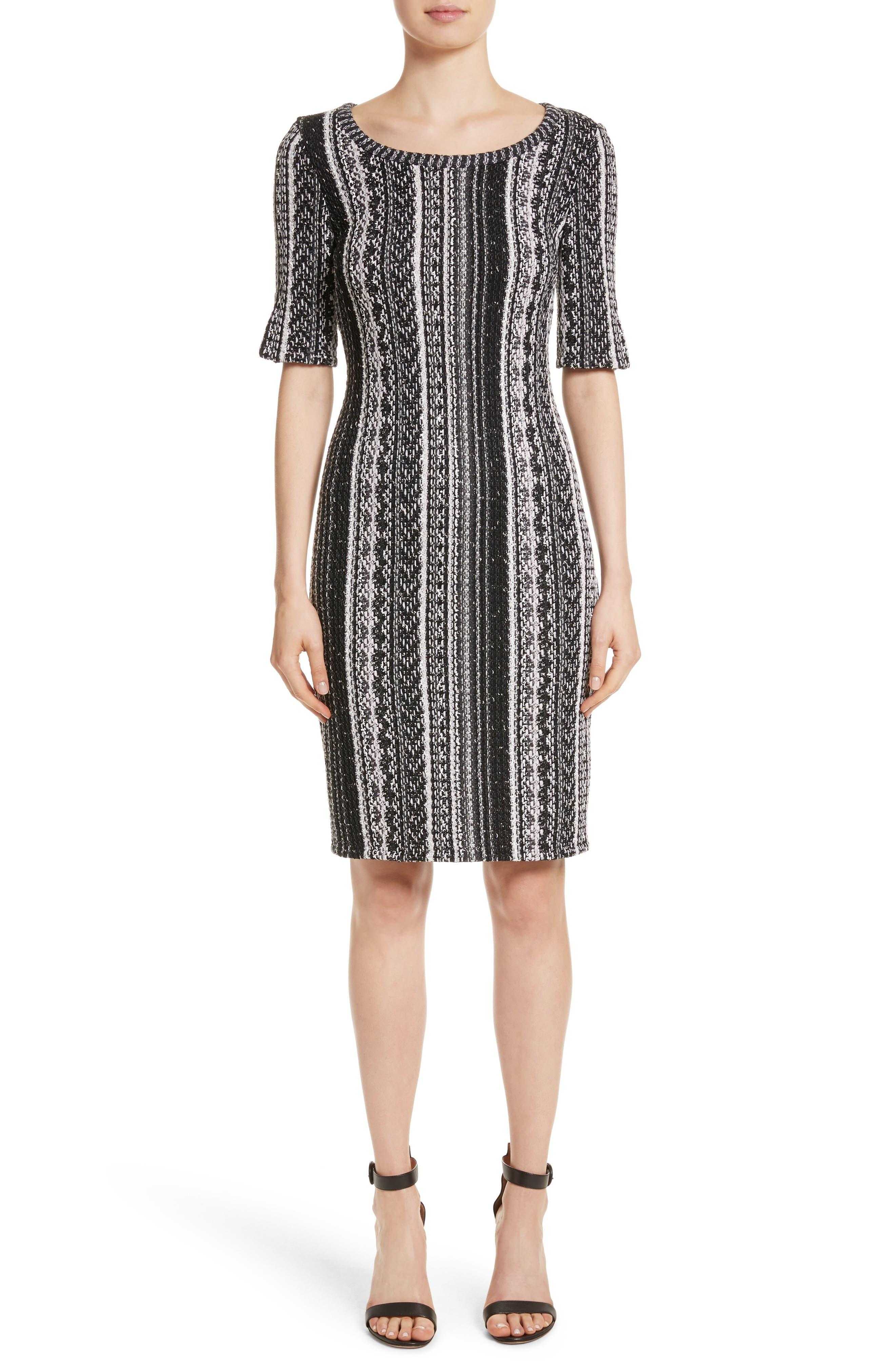 Ombré Stripe Tweed Knit Dress,                         Main,                         color, Caviar Multi