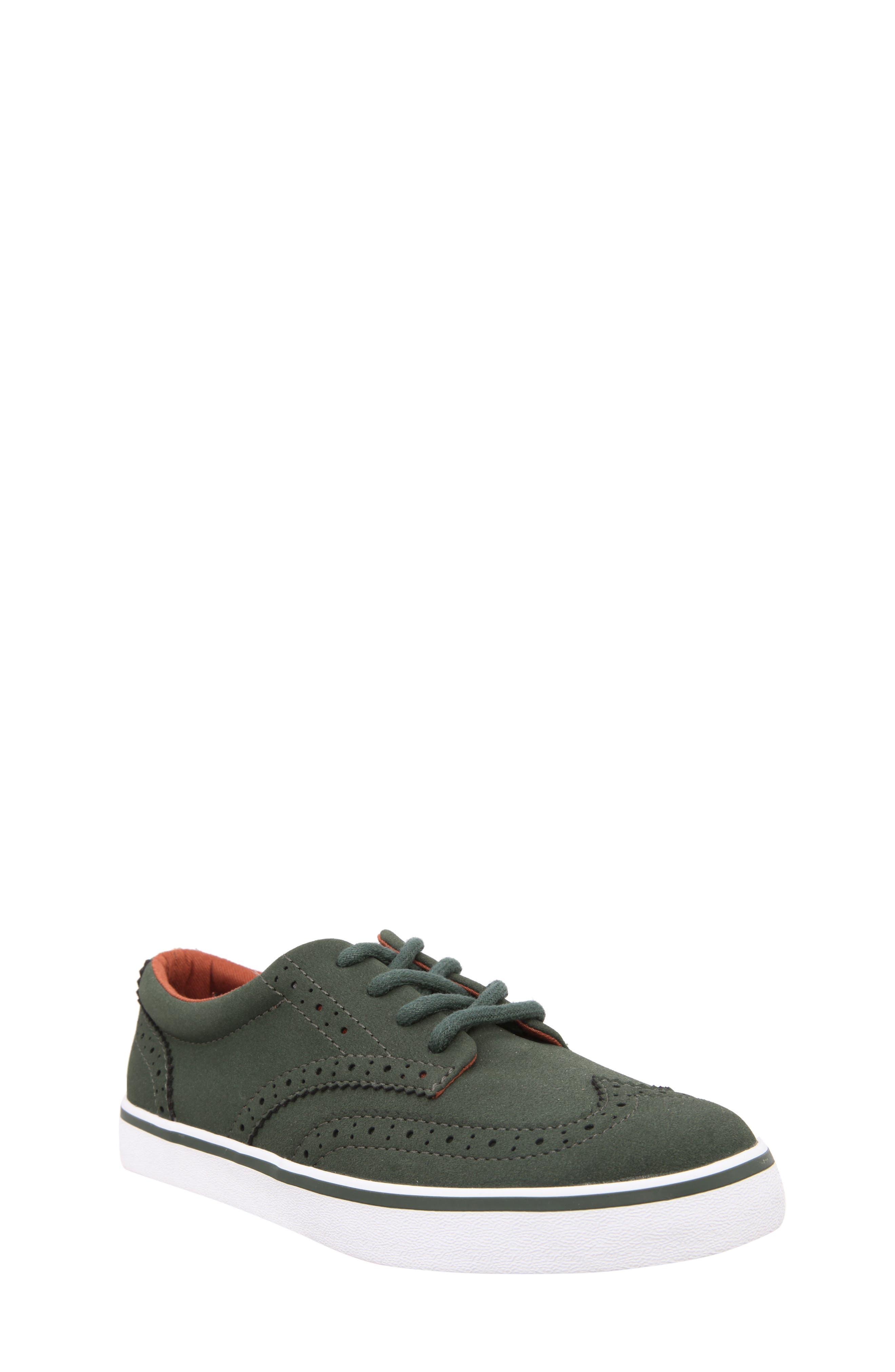 Wingtip Sneaker,                             Main thumbnail 1, color,                             Olive Faux Suede