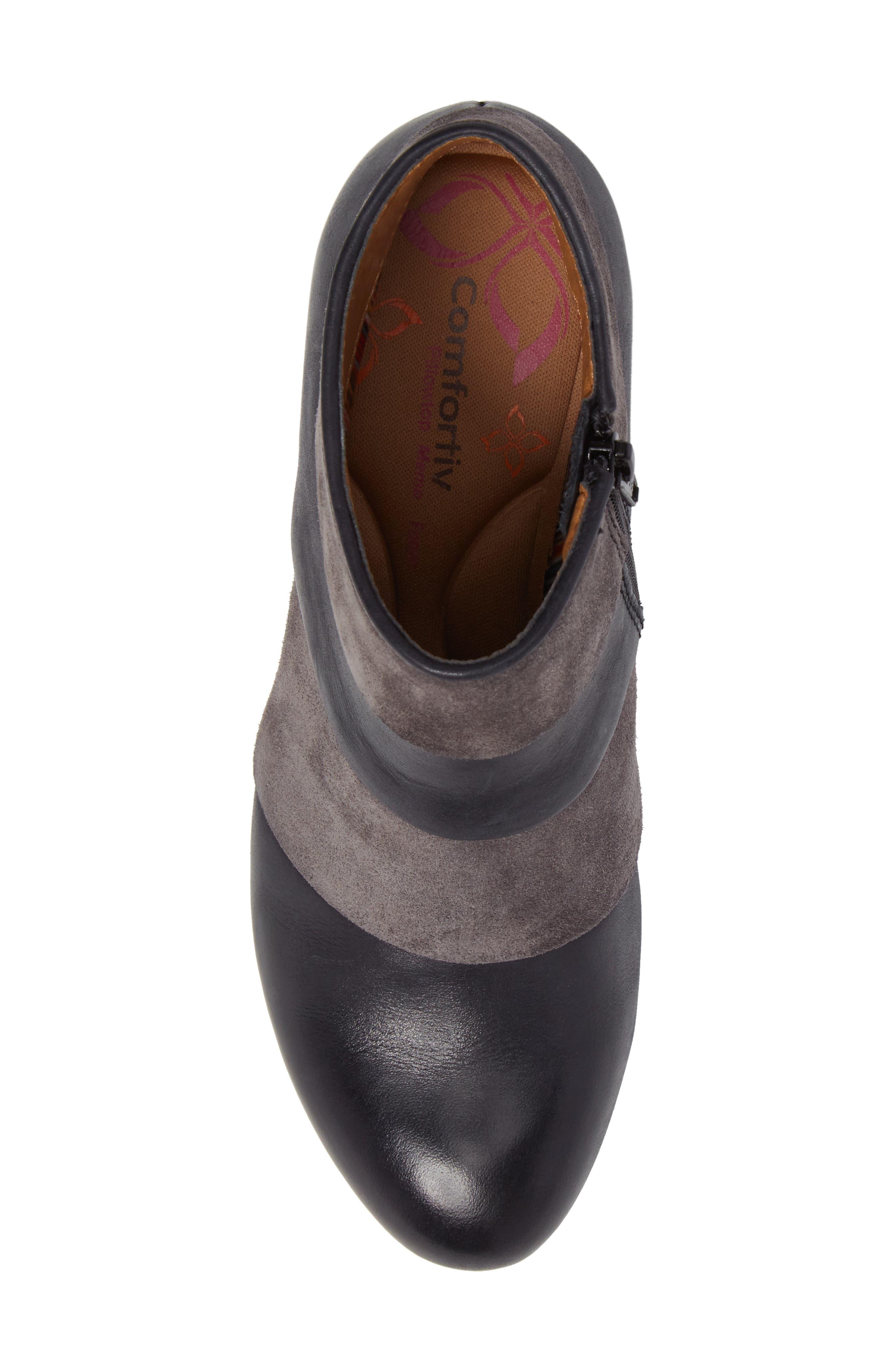 Amesbury Colorblock Bootie,                             Alternate thumbnail 5, color,                             Black/ Steel Grey Leather