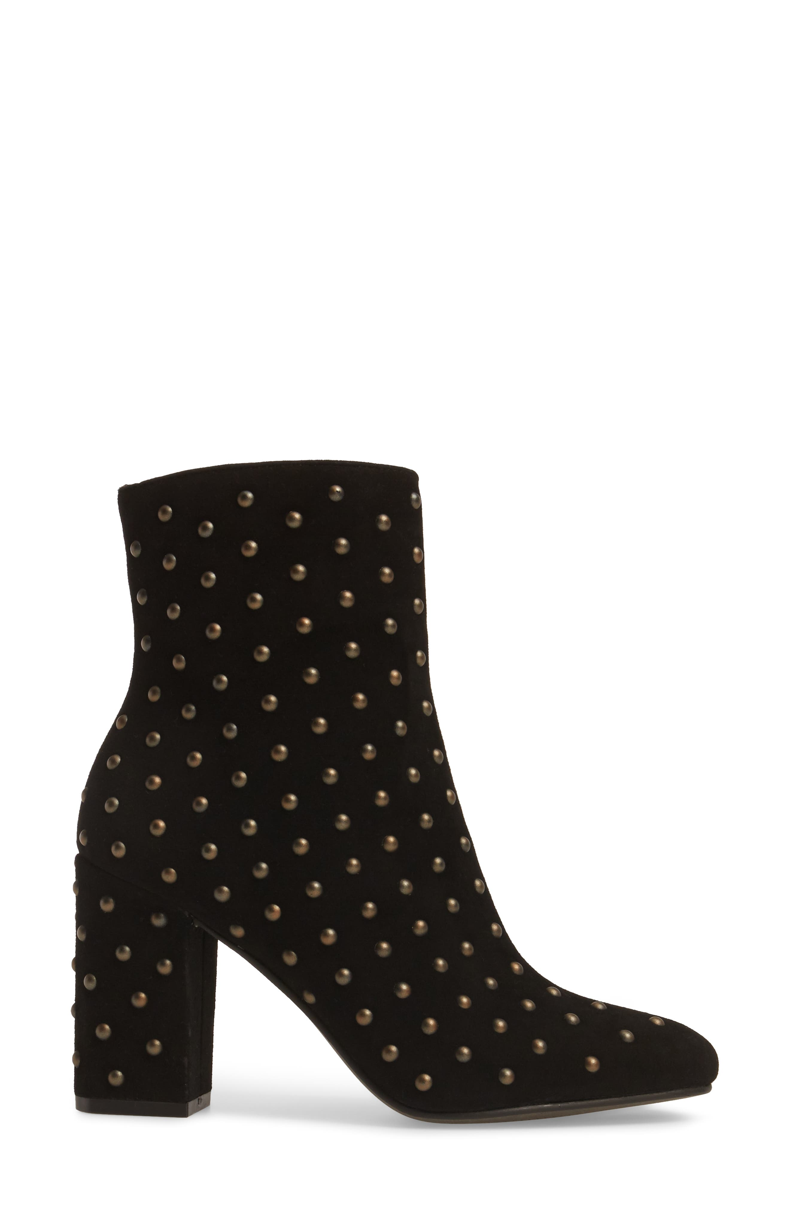 Wesson II Studded Bootie,                             Alternate thumbnail 3, color,                             Black Suede